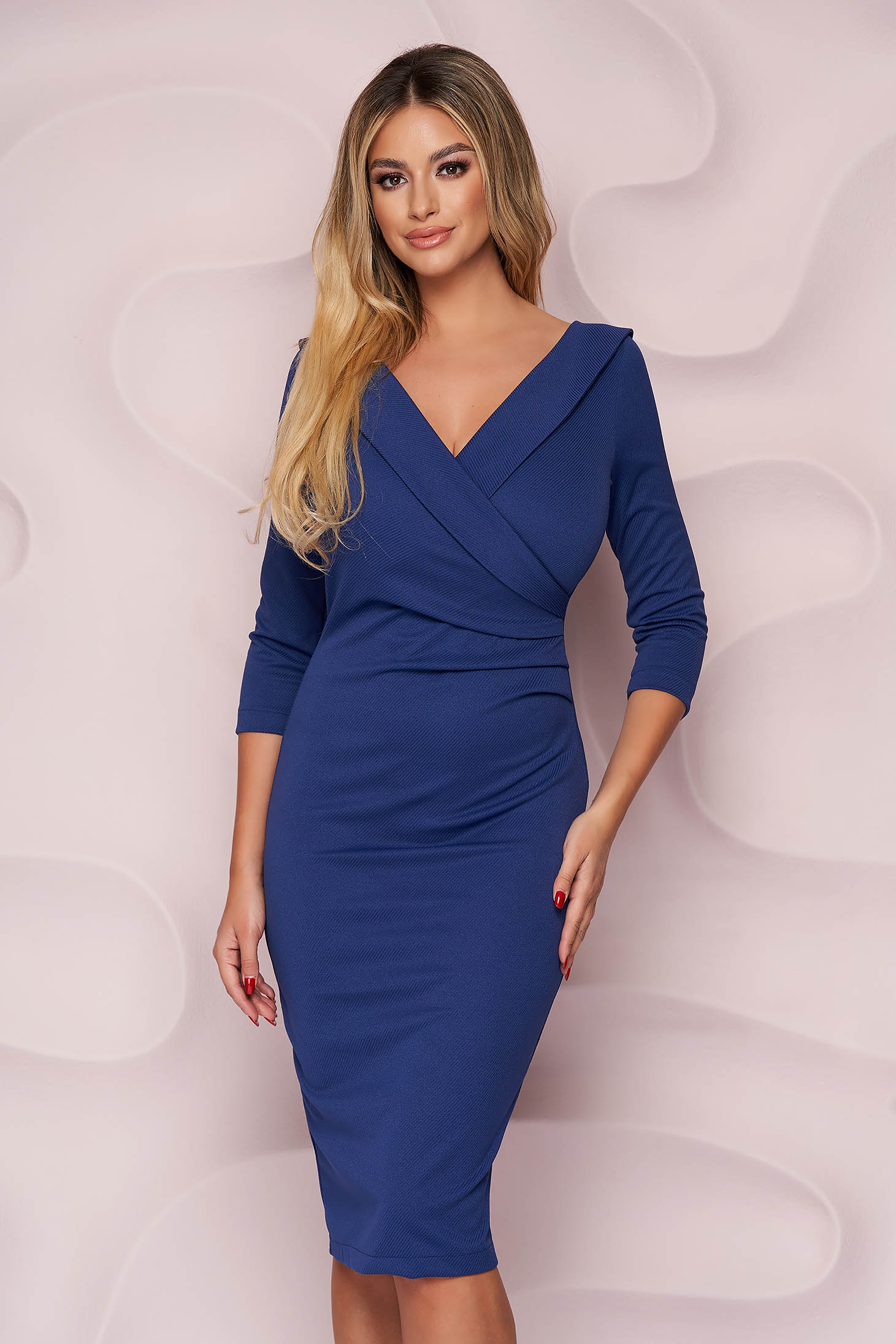 StarShinerS blue dress office midi pencil from elastic fabric wrap over front