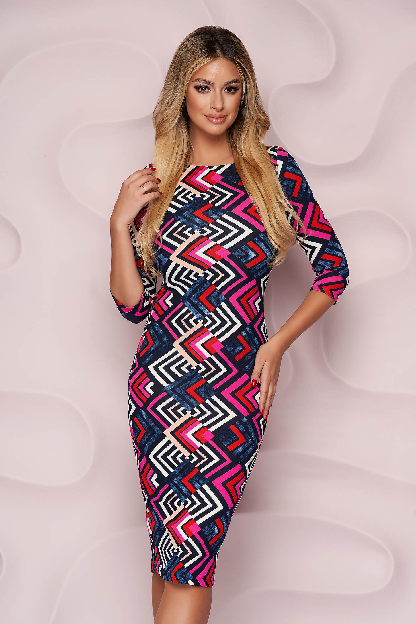 StarShinerS dress office midi from elastic fabric with tented cut with graphic details