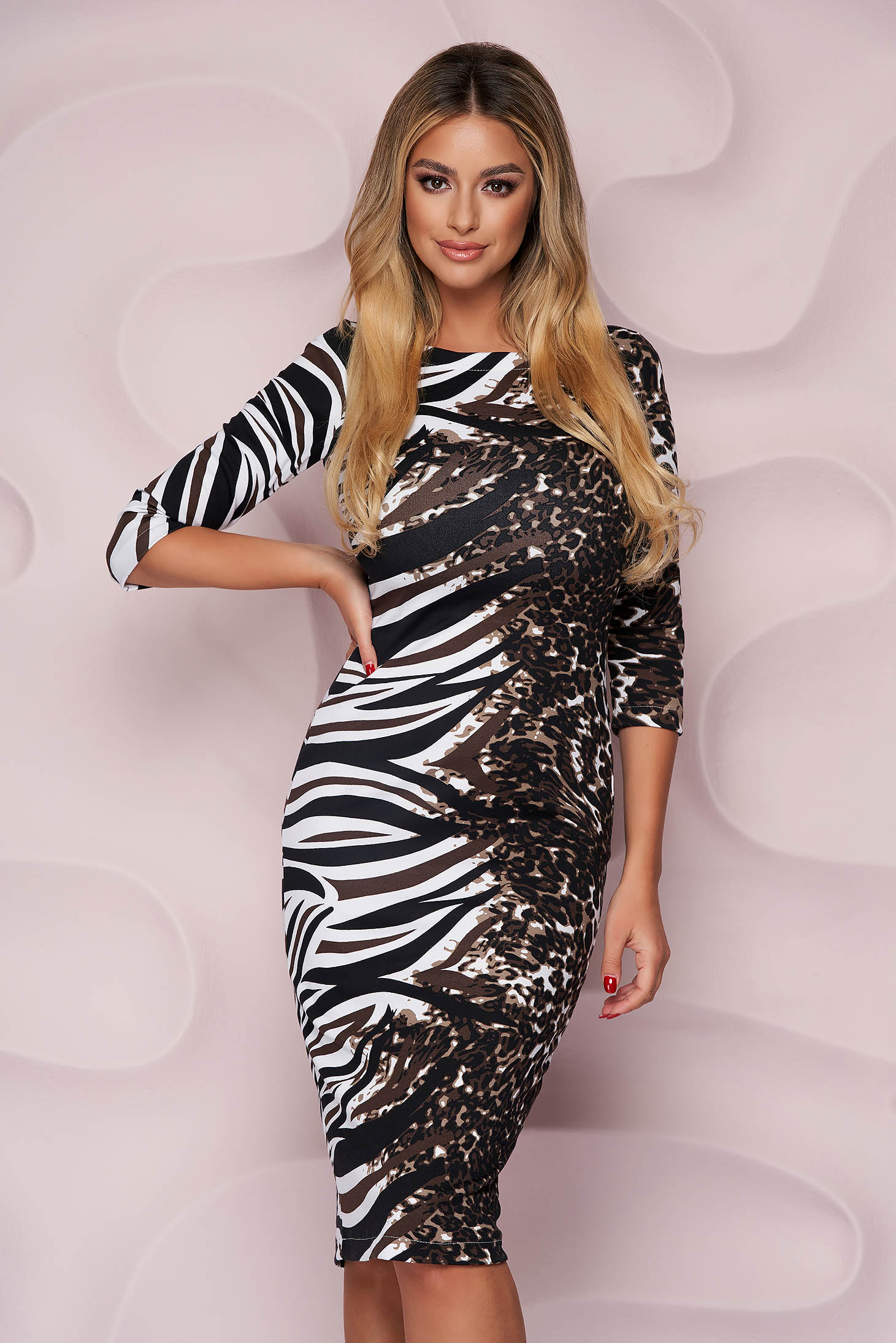 StarShinerS dress office midi pencil from elastic fabric with 3/4 sleeves light material