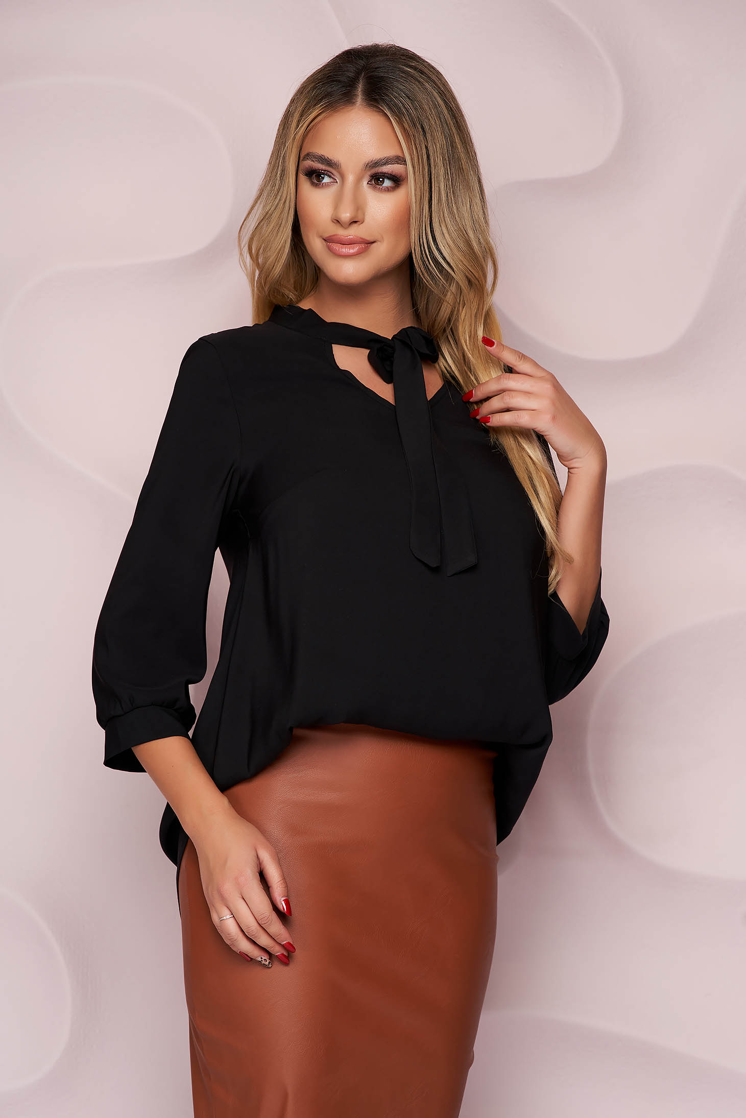 StarShinerS black women`s blouse office asymmetrical loose fit nonelastic fabric tied with bow light material