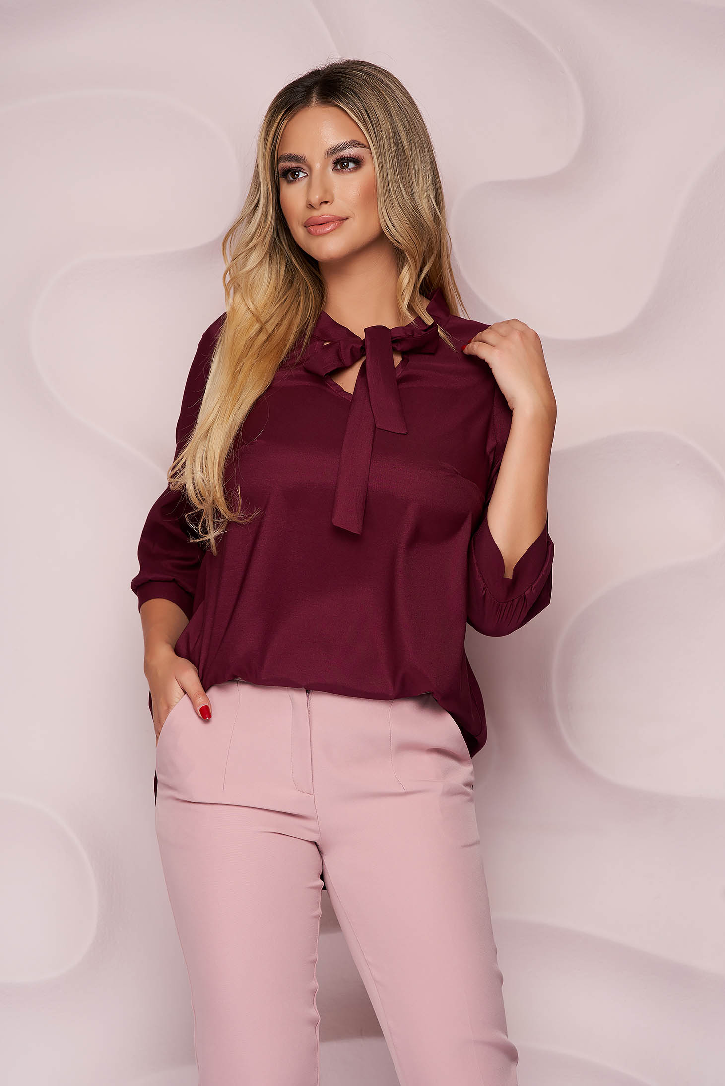 StarShinerS burgundy women`s blouse office asymmetrical loose fit from satin nonelastic fabric tied with bow light material