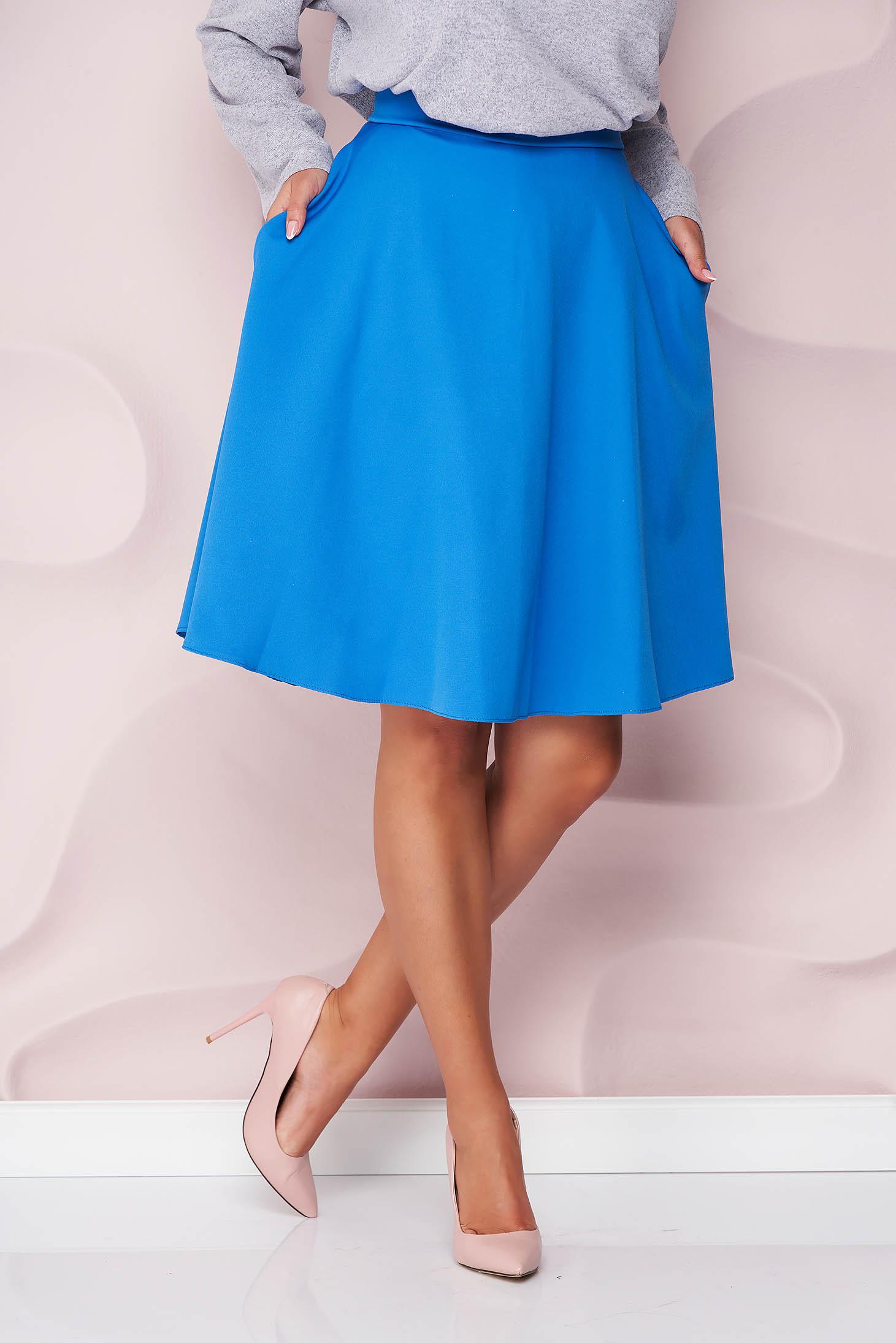 Fusta StarShinerS albastra office midi in clos din stofa usor elastica cu talie inalta si buzunare