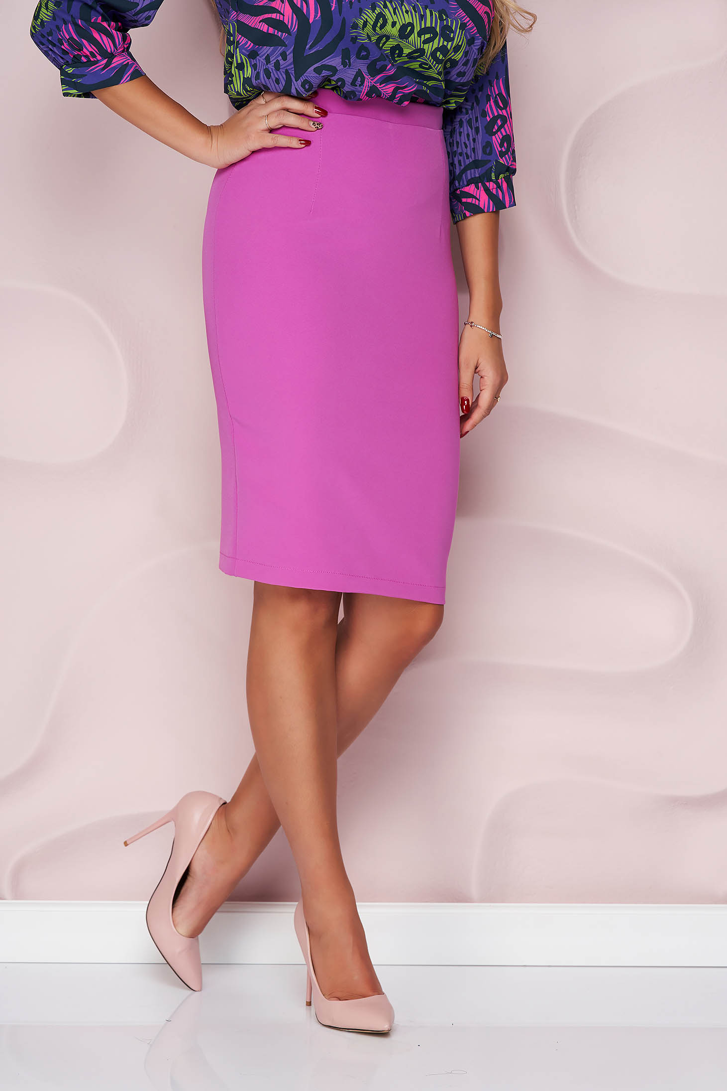 StarShinerS lila high waisted skirt office pencil cloth midi from elastic fabric