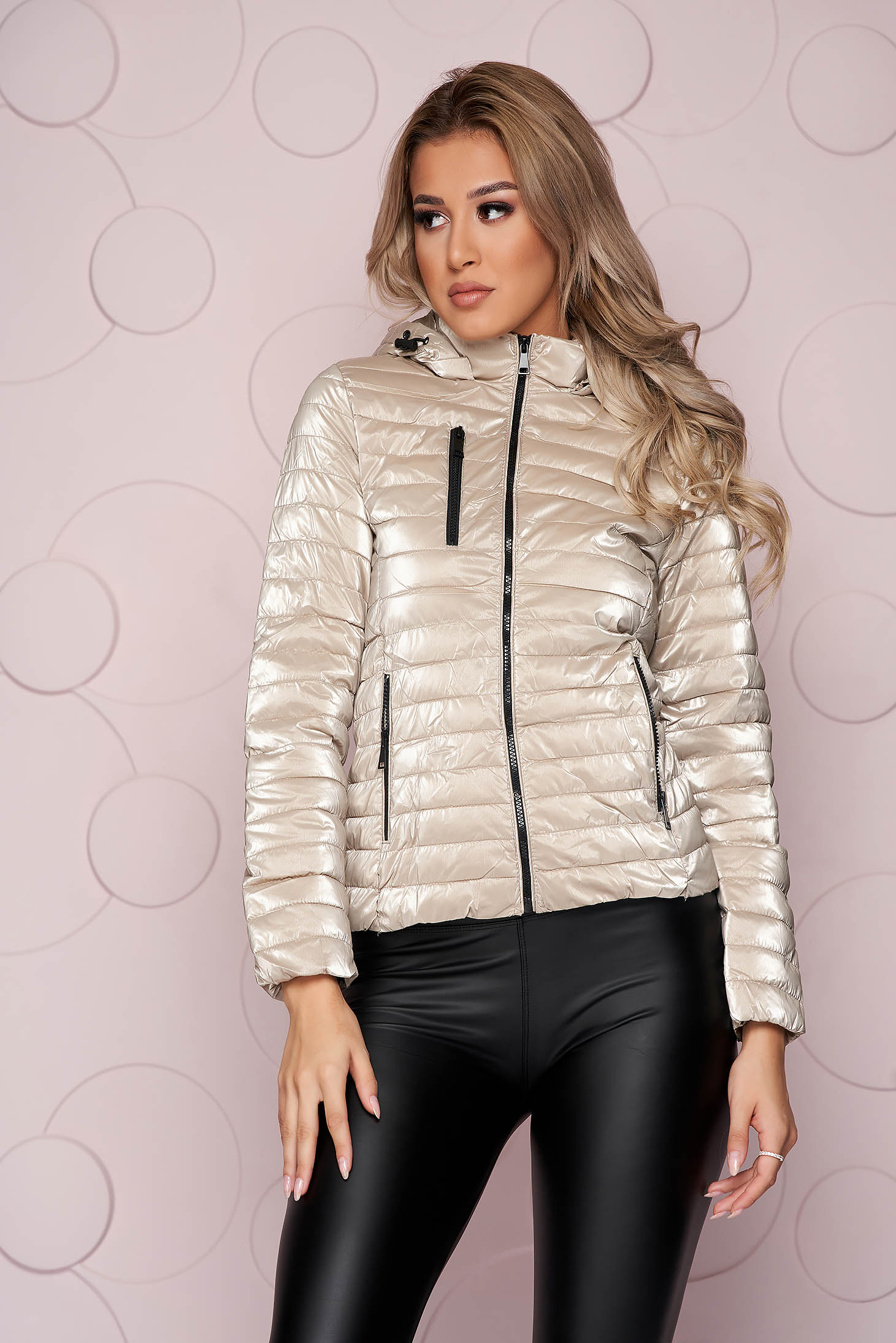 Silver jacket short cut from shiny fabric detachable hood arched cut