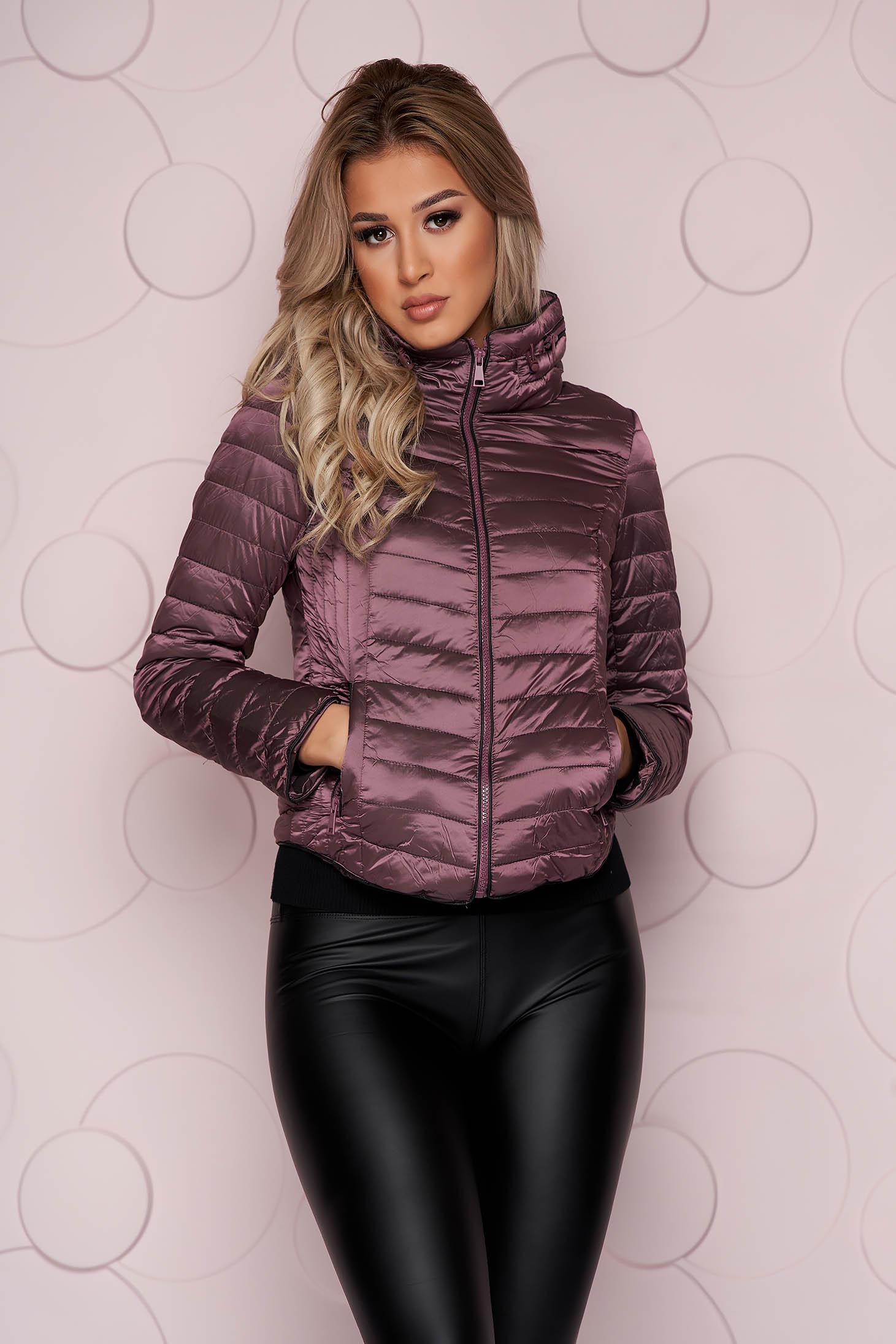 Purple jacket tented short cut from slicker with zipper details pockets