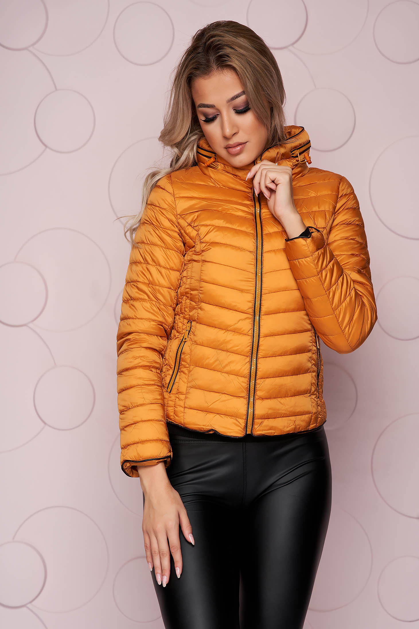 Mustard jacket tented short cut from slicker with zipper details pockets