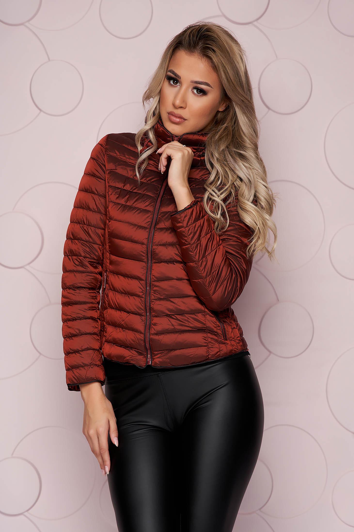 Burgundy jacket tented short cut from slicker with zipper details pockets