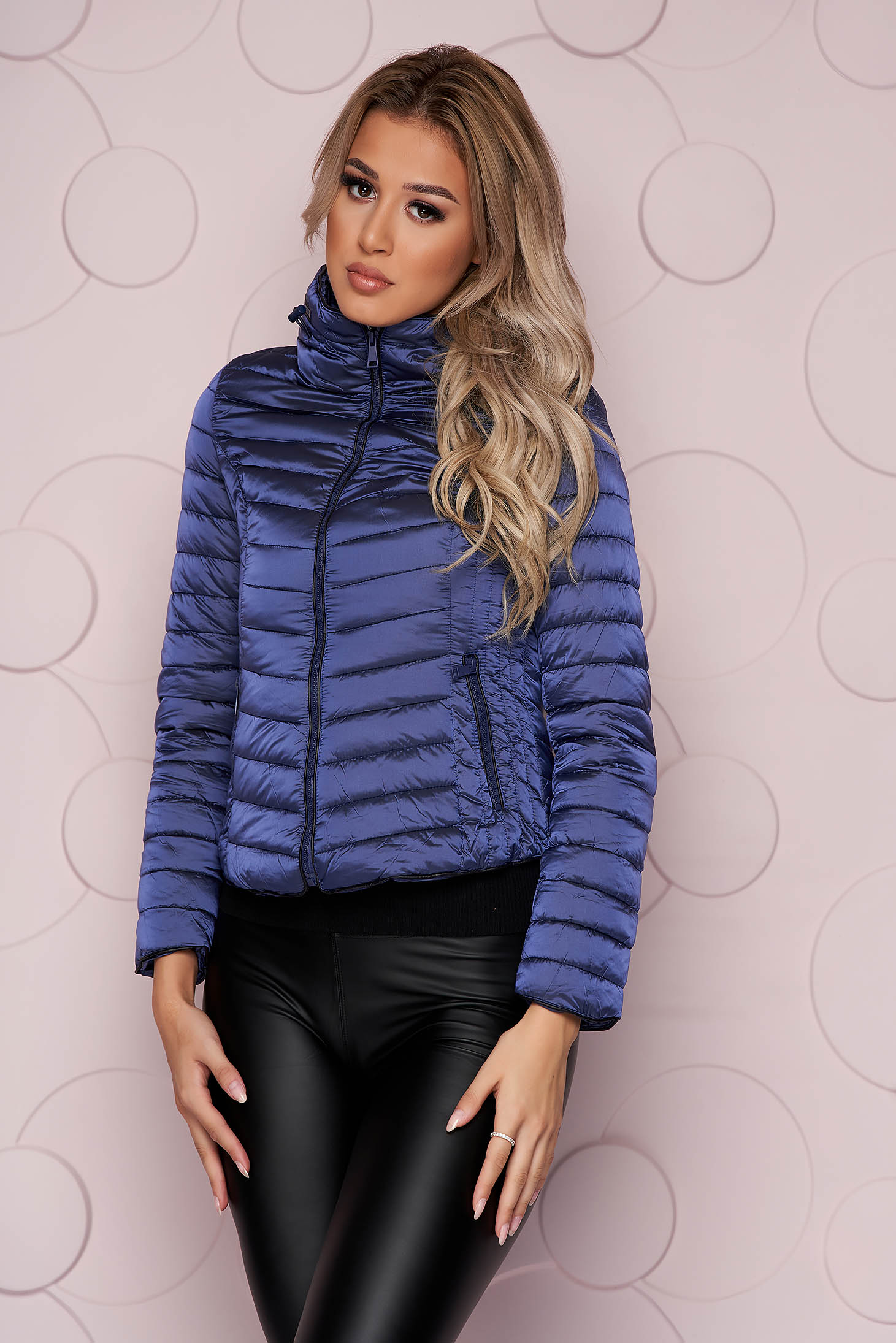 Darkblue jacket tented short cut from slicker with zipper details pockets