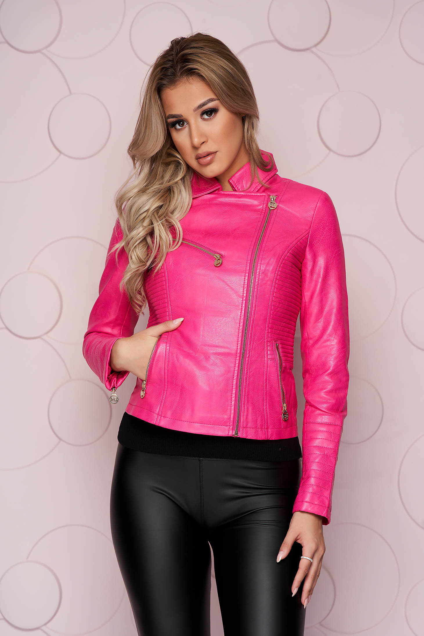 Pink jacket tented short cut thick fabric from ecological leather with zipper details pockets zipped sleeves