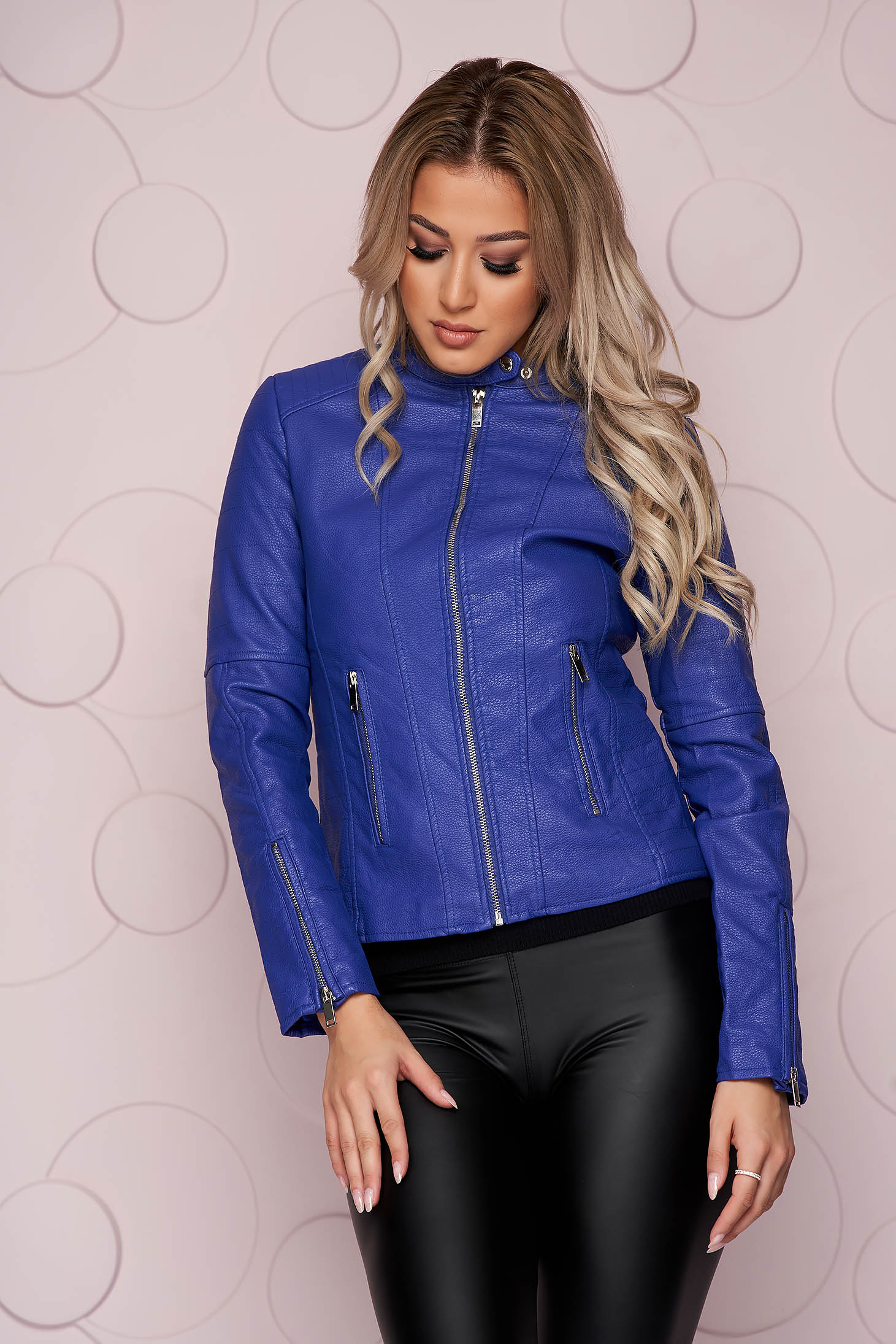 Blue jacket tented short cut from ecological leather thick fabric with zipper details pockets