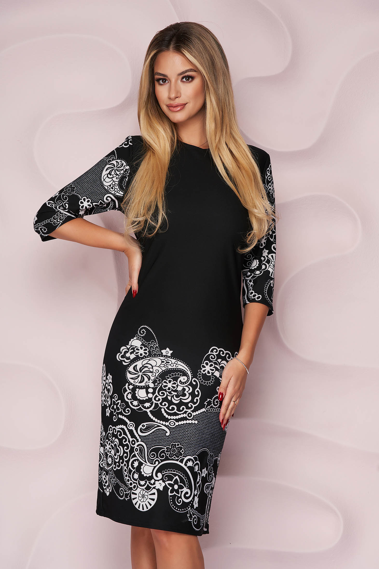 Black dress straight office midi thin fabric with graphic details slightly elastic fabric
