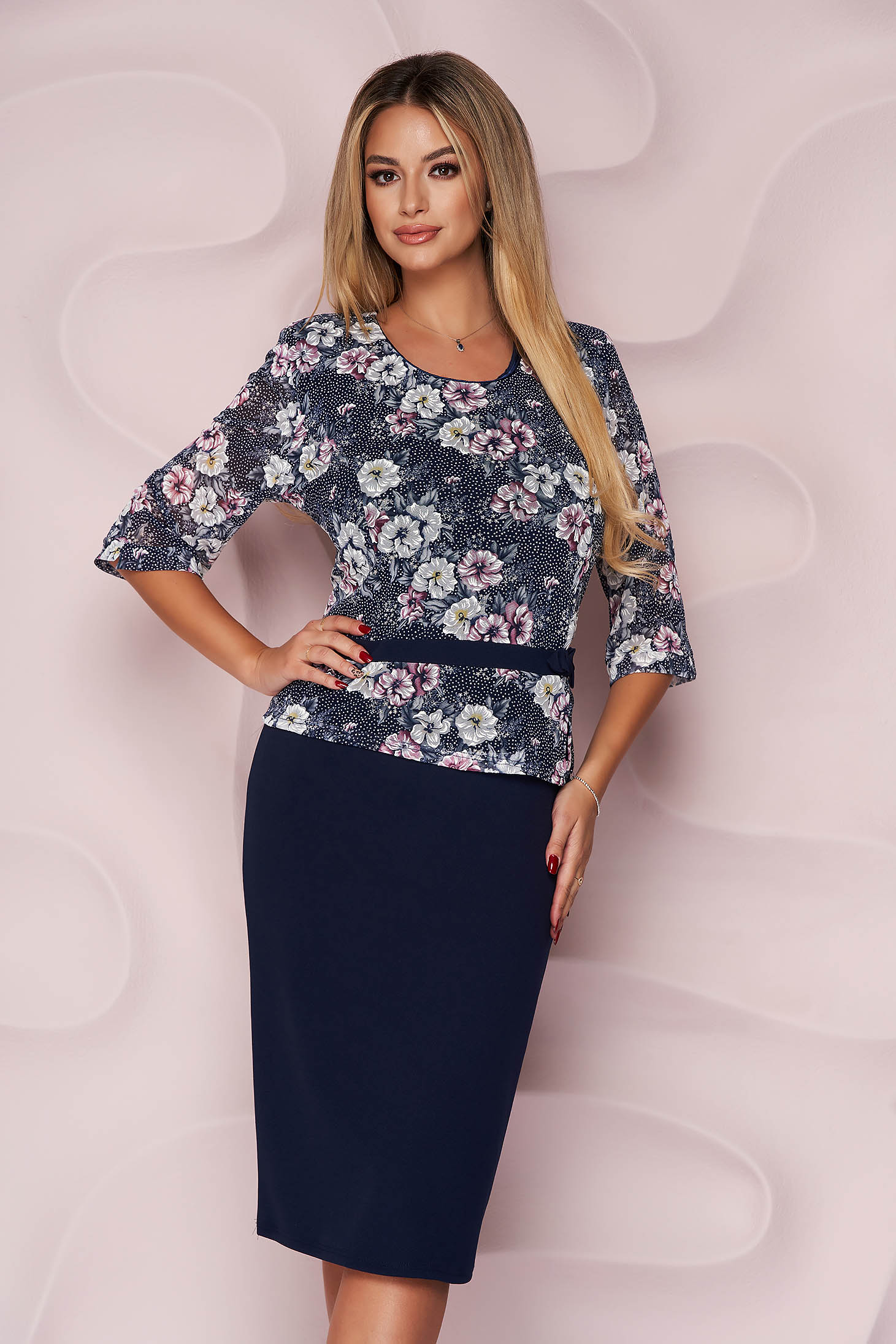 Office dress straight thin fabric from elastic fabric with veil sleeves midi
