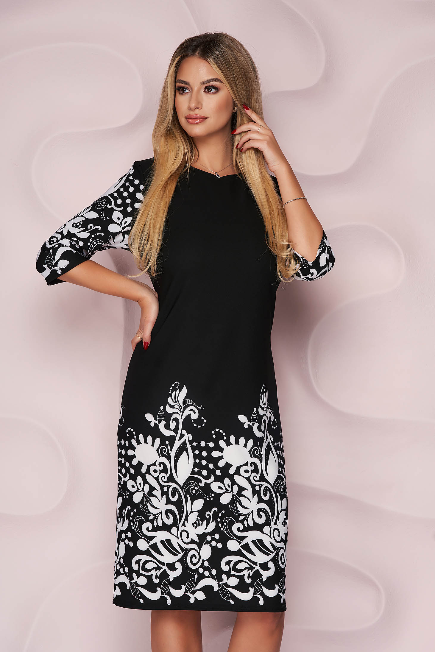 Black office dress straight midi thin fabric with graphic details slightly elastic fabric