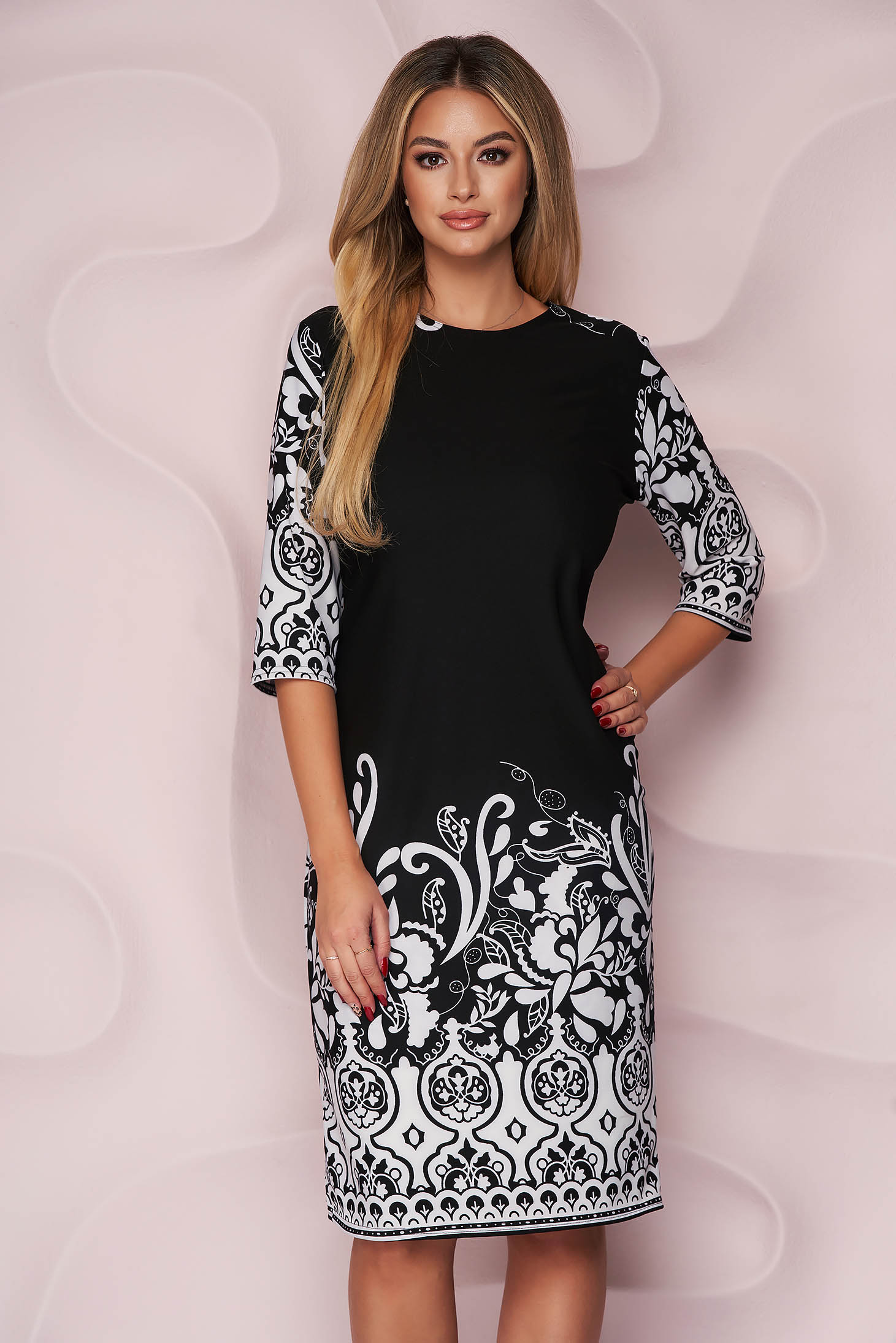 Black dress office straight midi slightly elastic fabric with graphic details
