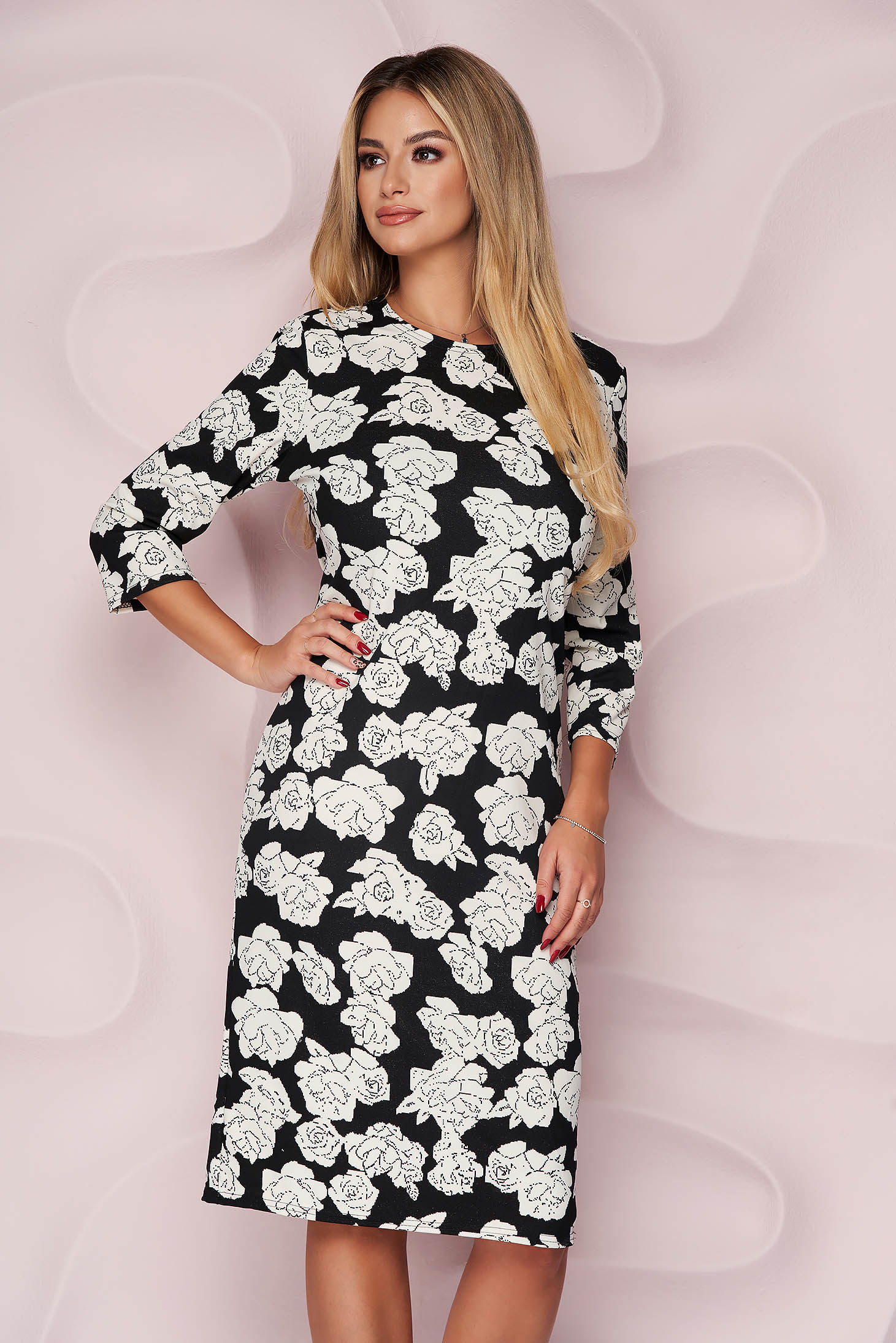 Dress office straight midi slightly elastic fabric with floral print light material