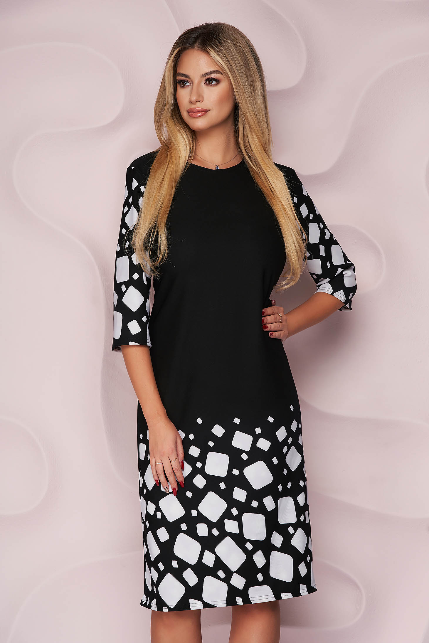 Dress office straight midi with graphic details slightly elastic fabric light material