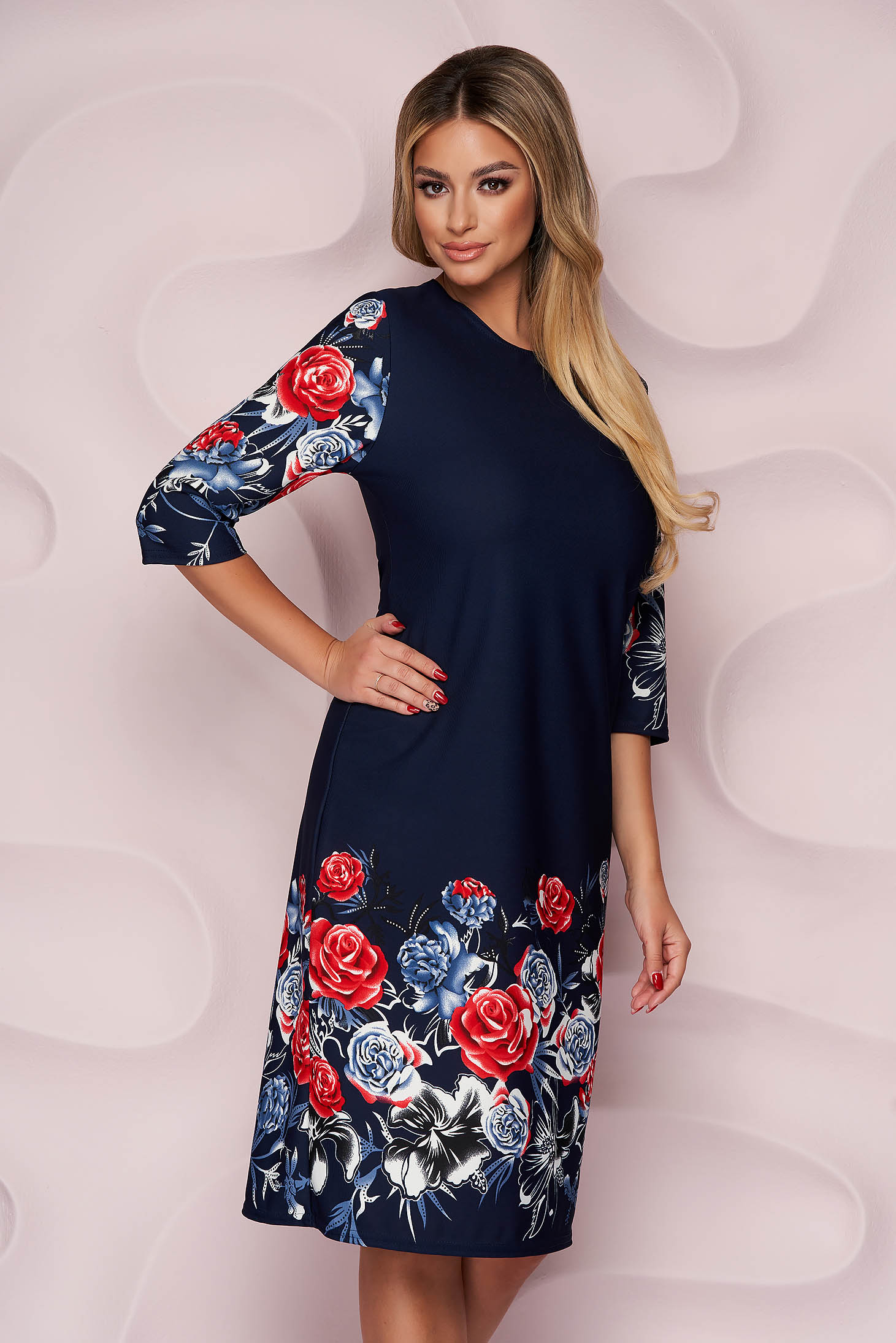 Dress office straight slightly elastic fabric midi light material with floral print
