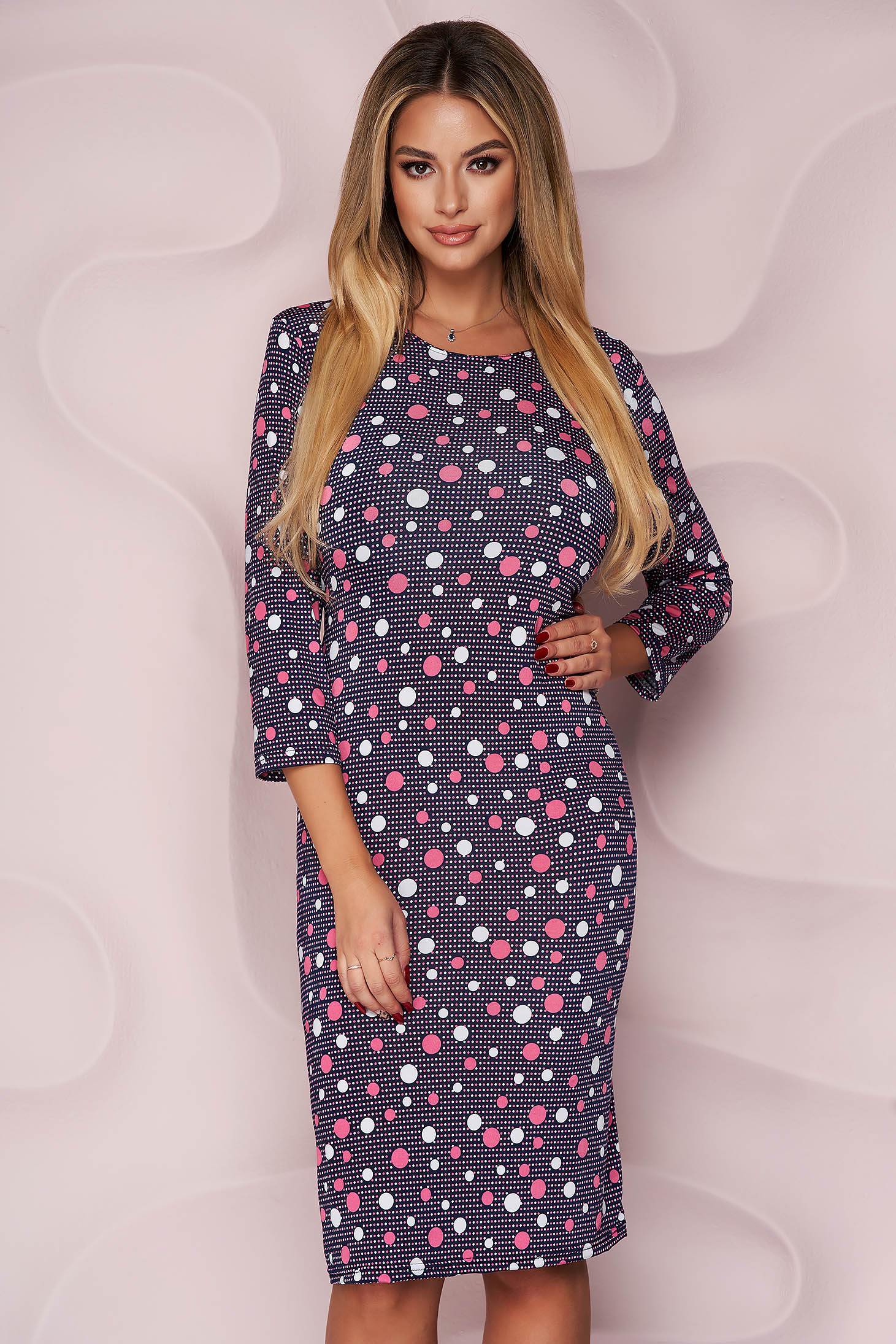 Dress office straight midi from elastic and fine fabric with 3/4 sleeves light material