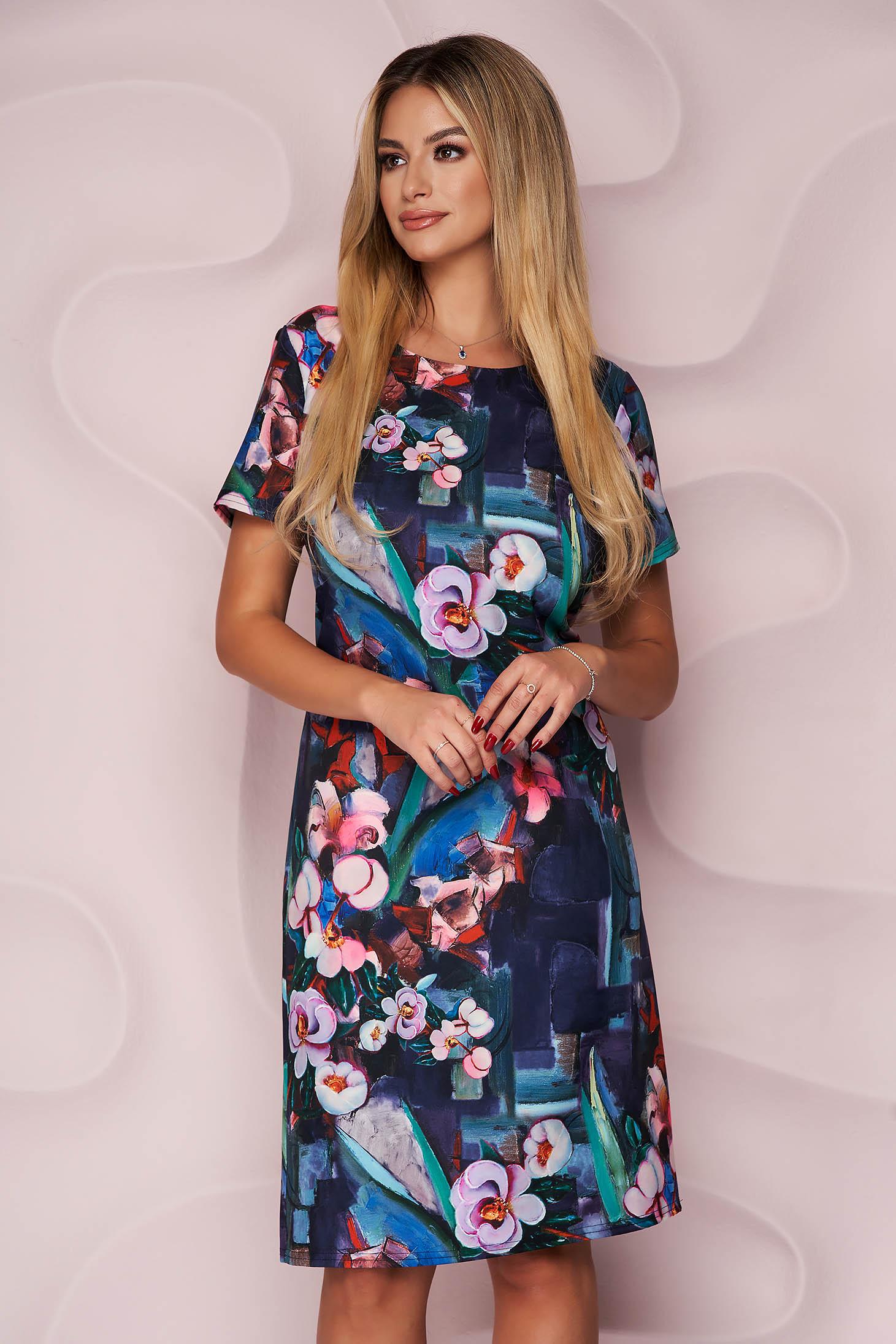 Lady Pandora rochie midi office cu un croi drept din material fluid neelastic si fin la atingere
