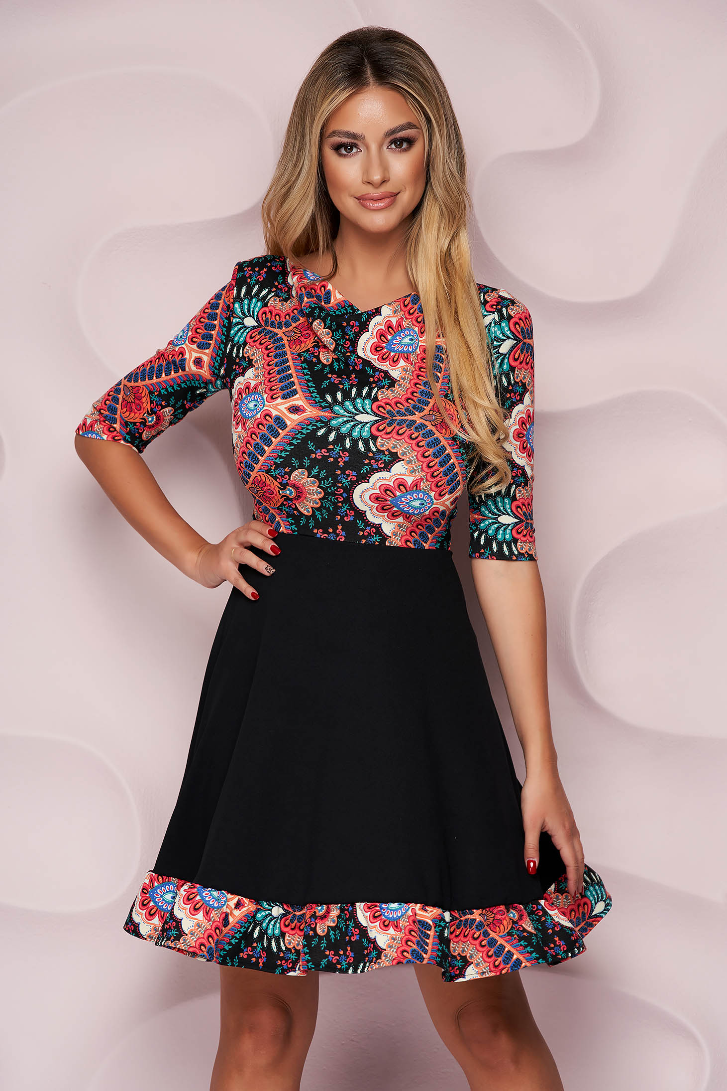 StarShinerS cloche office dress midi of embossed material with ruffles at the buttom of the dress from elastic fabric