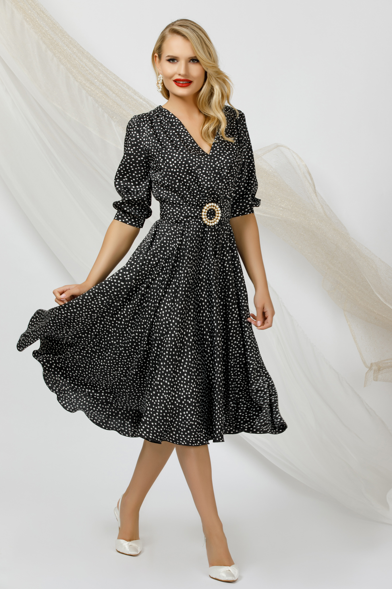 Dress midi cloche occasional airy fabric from satin fabric texture dots print metallic buckle