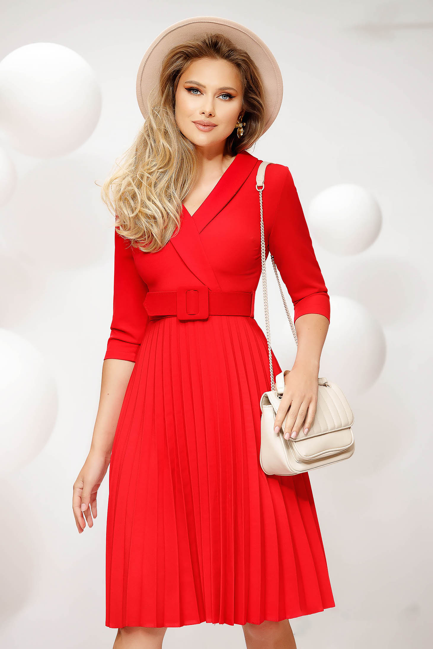 Red dress thin fabric cloche midi office nonelastic fabric accessorized with belt folded up