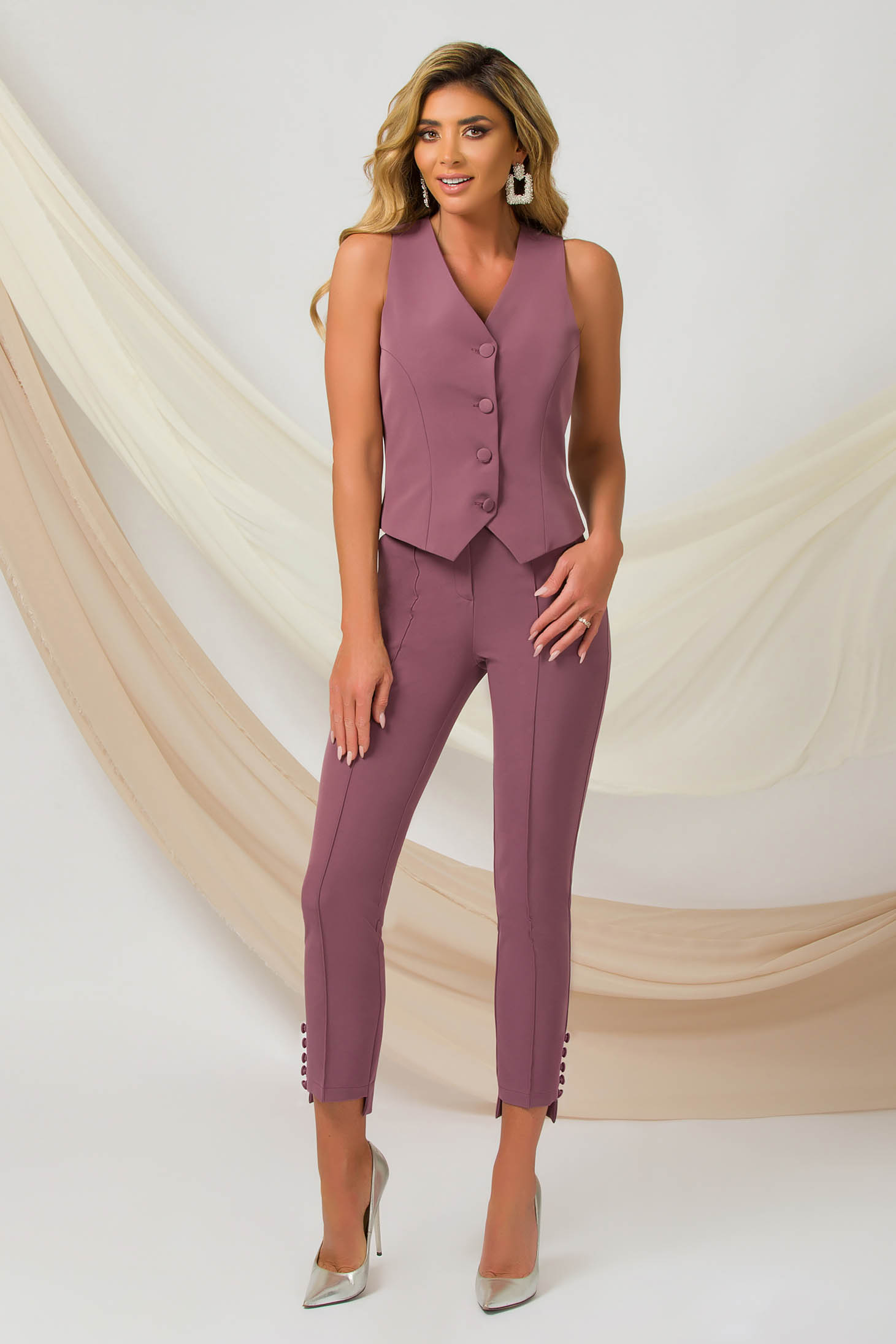 Pink trousers office conical slightly elastic fabric with button accessories