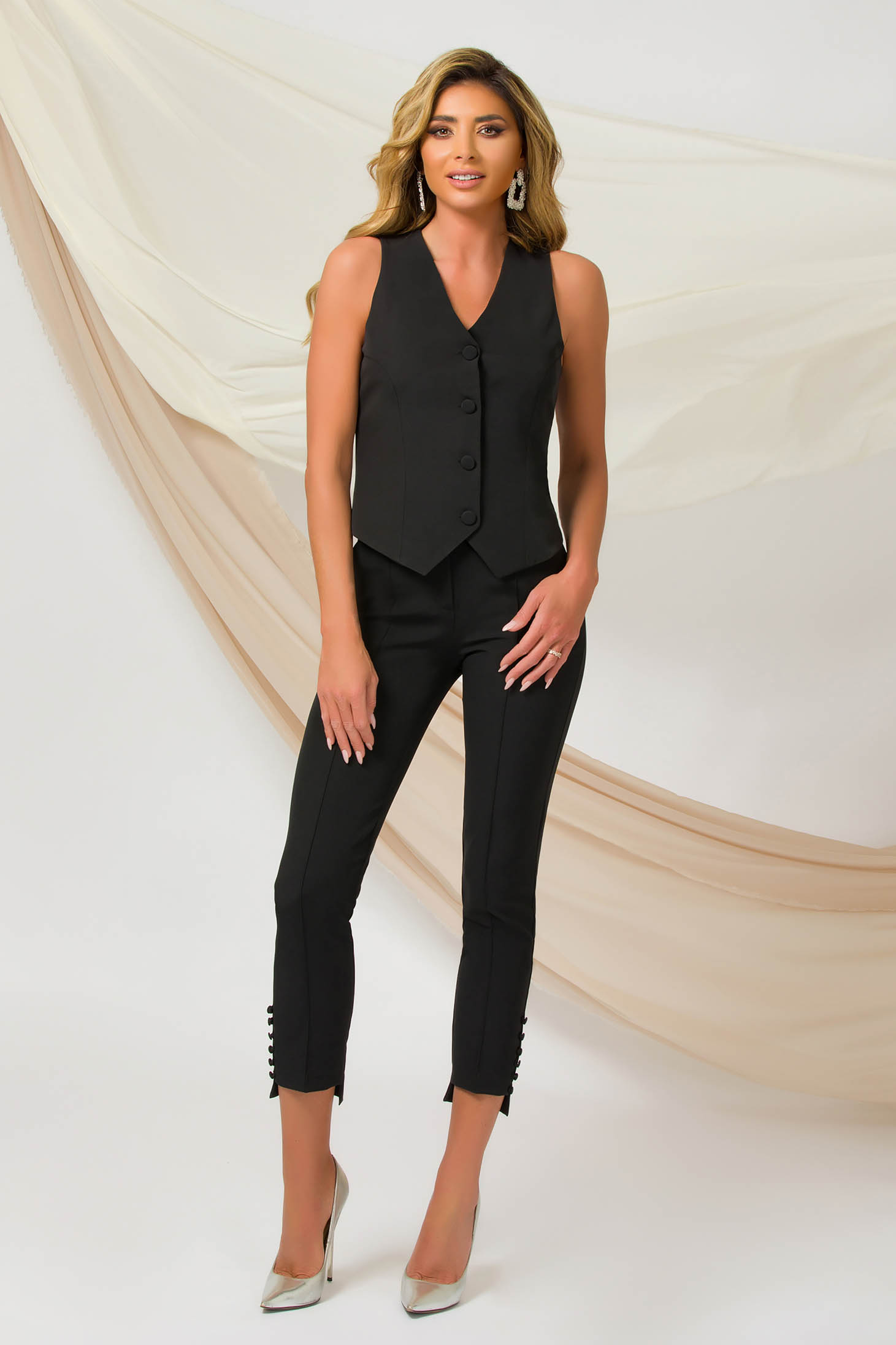 Black trousers office conical slightly elastic fabric with button accessories