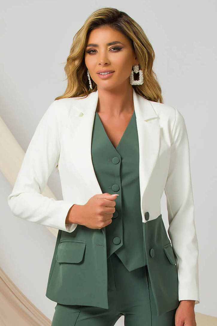 Green jacket office slightly elastic fabric arched cut with padded shoulders