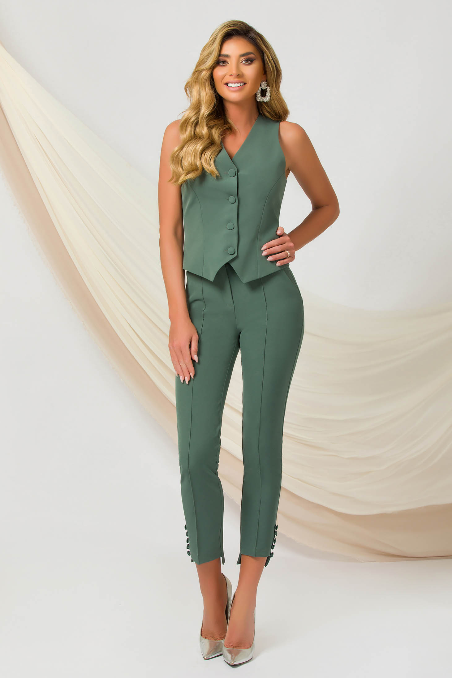 Green trousers office conical slightly elastic fabric with button accessories