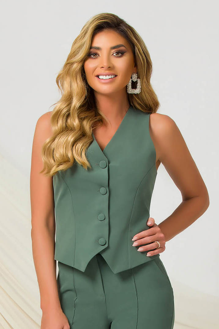 Green gilet arched cut slightly elastic fabric office with v-neckline