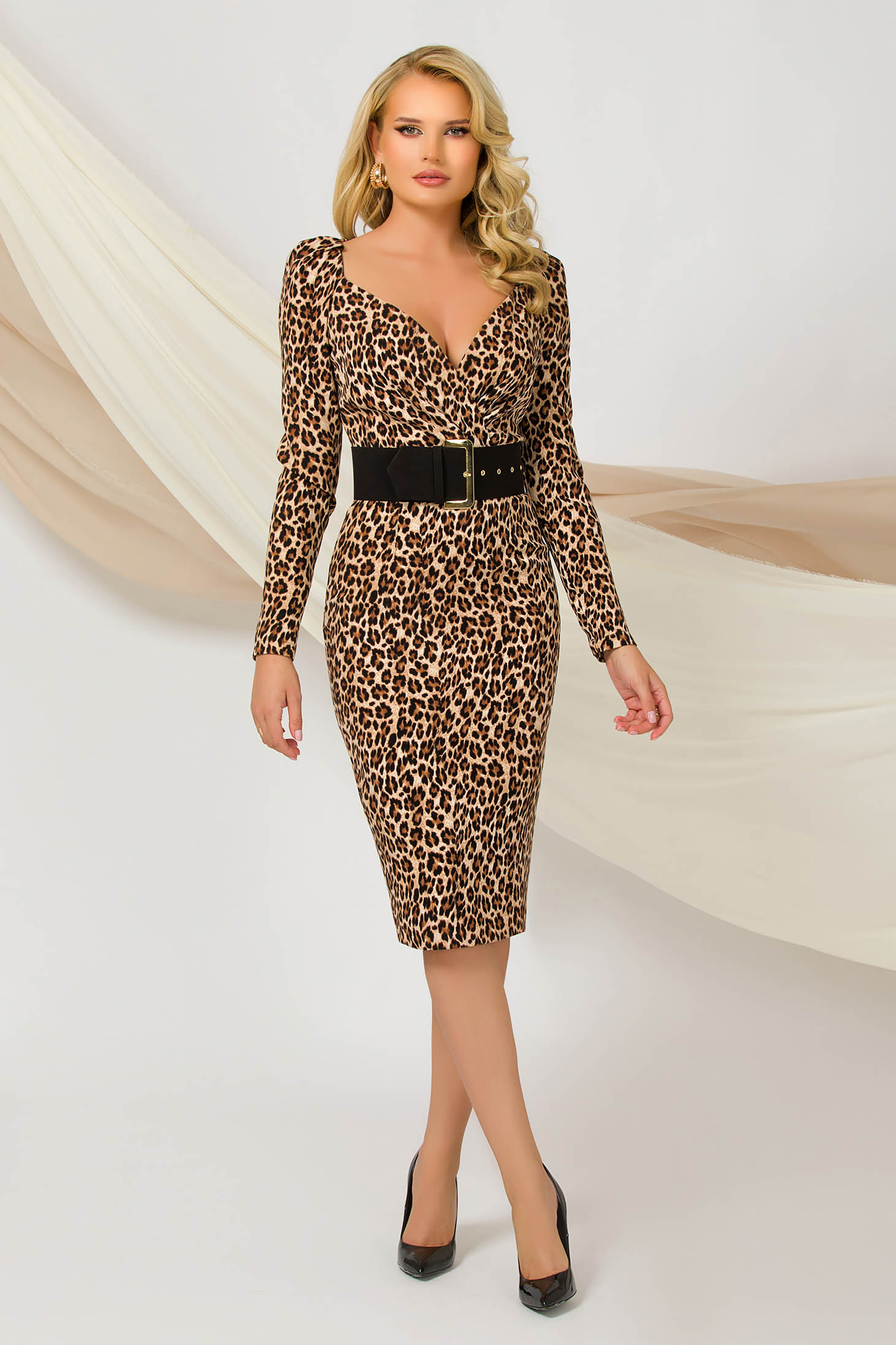 Dress office long sleeve midi thin fabric accessorized with belt with tented cut