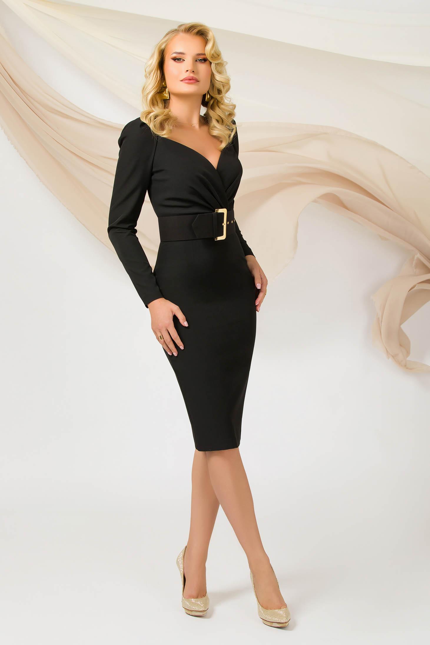 Fekete ruha irodai hosszú ujjakkal midi vékony anyag öv típusú kiegészítővel szűk szabású