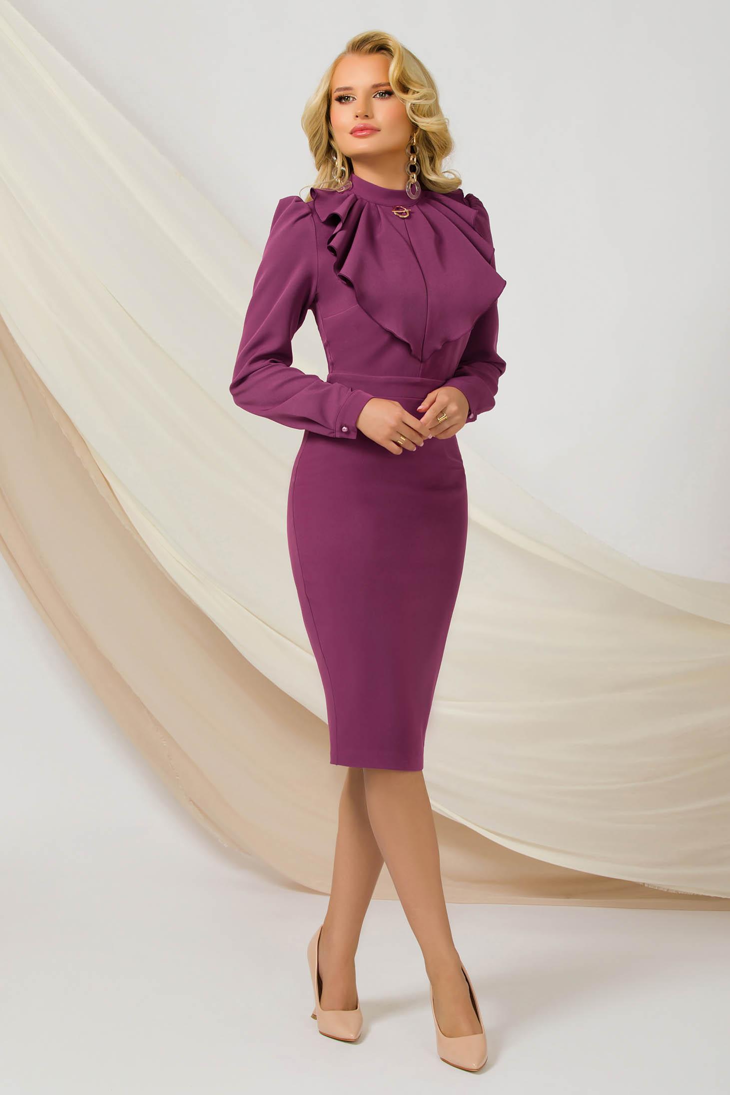Purple dress midi pencil thin fabric office slightly elastic fabric accessorized with breastpin