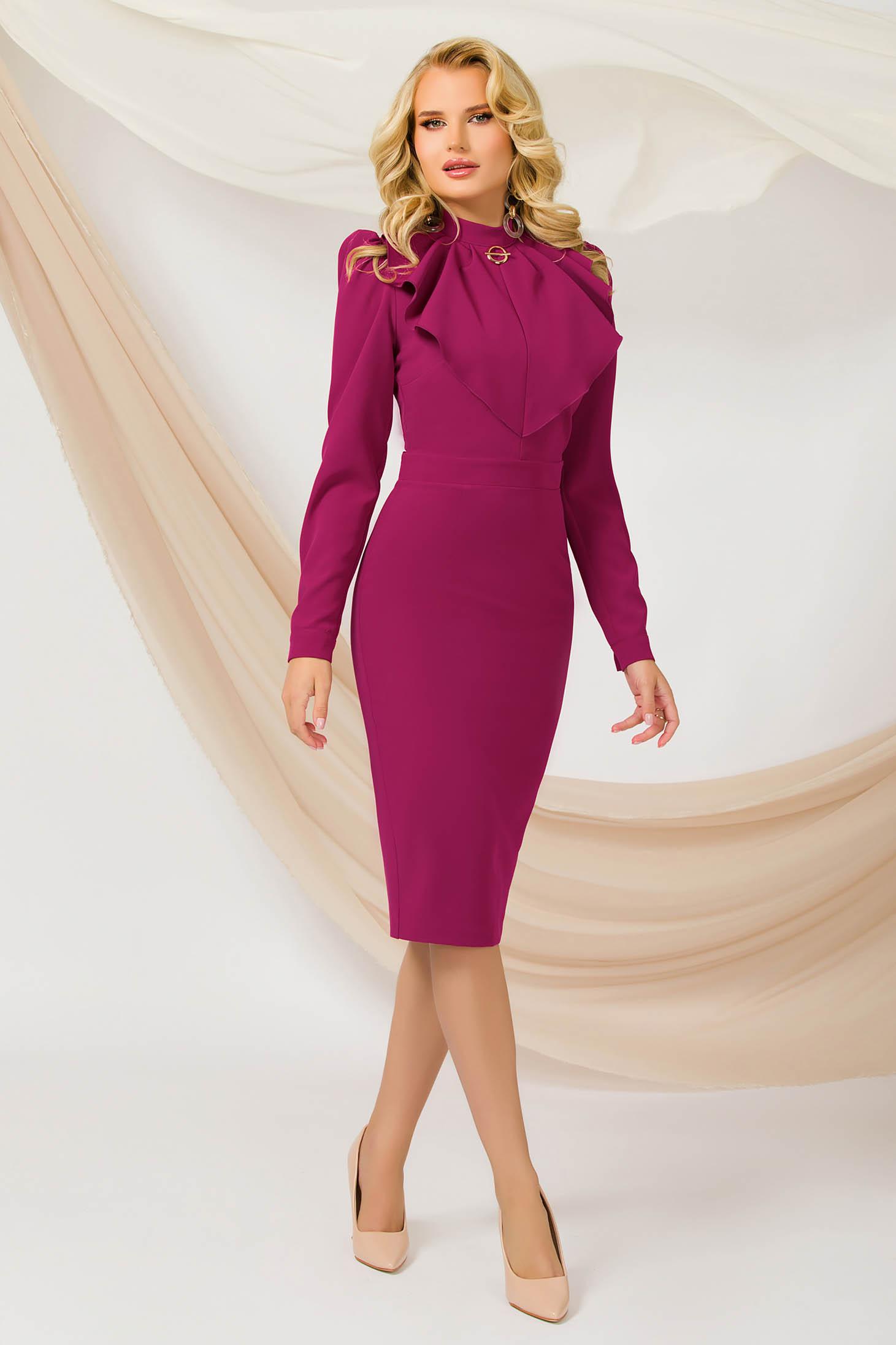 Raspberry dress midi pencil thin fabric office slightly elastic fabric accessorized with breastpin