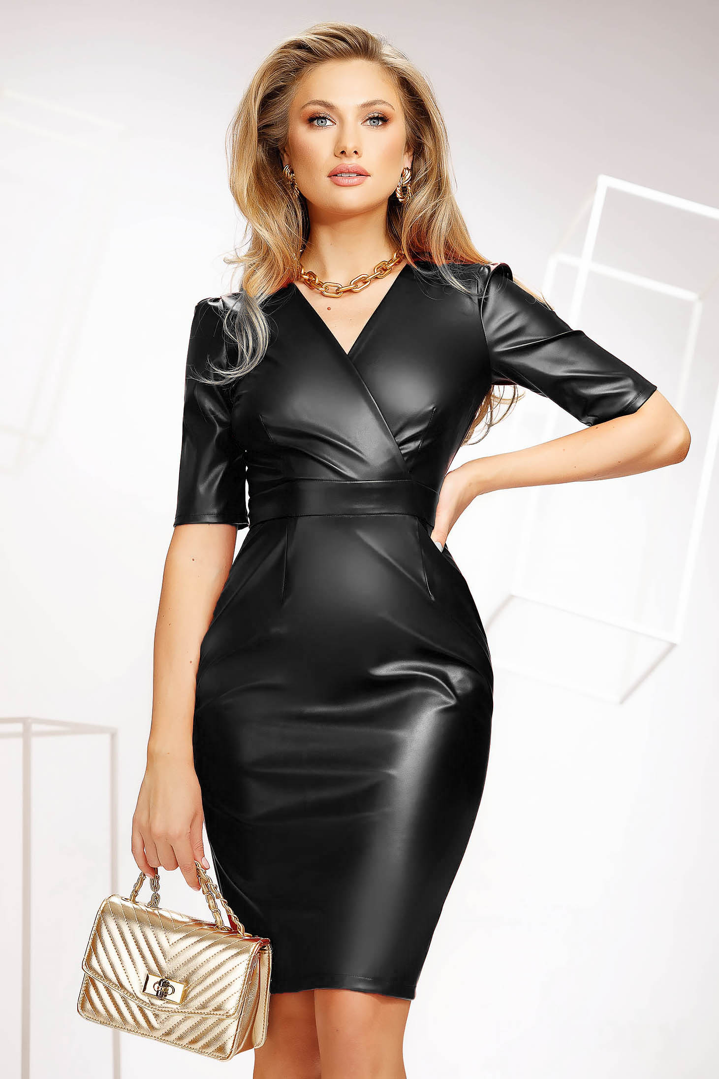 Black dress midi office pencil thin fabric from elastic fabric wrap over front ecological leather