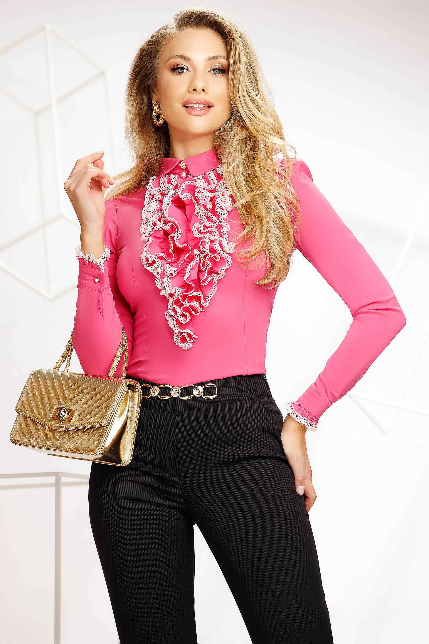 Pink women`s shirt office tented thin fabric with ruffle details accessorized with breastpin elastic cotton