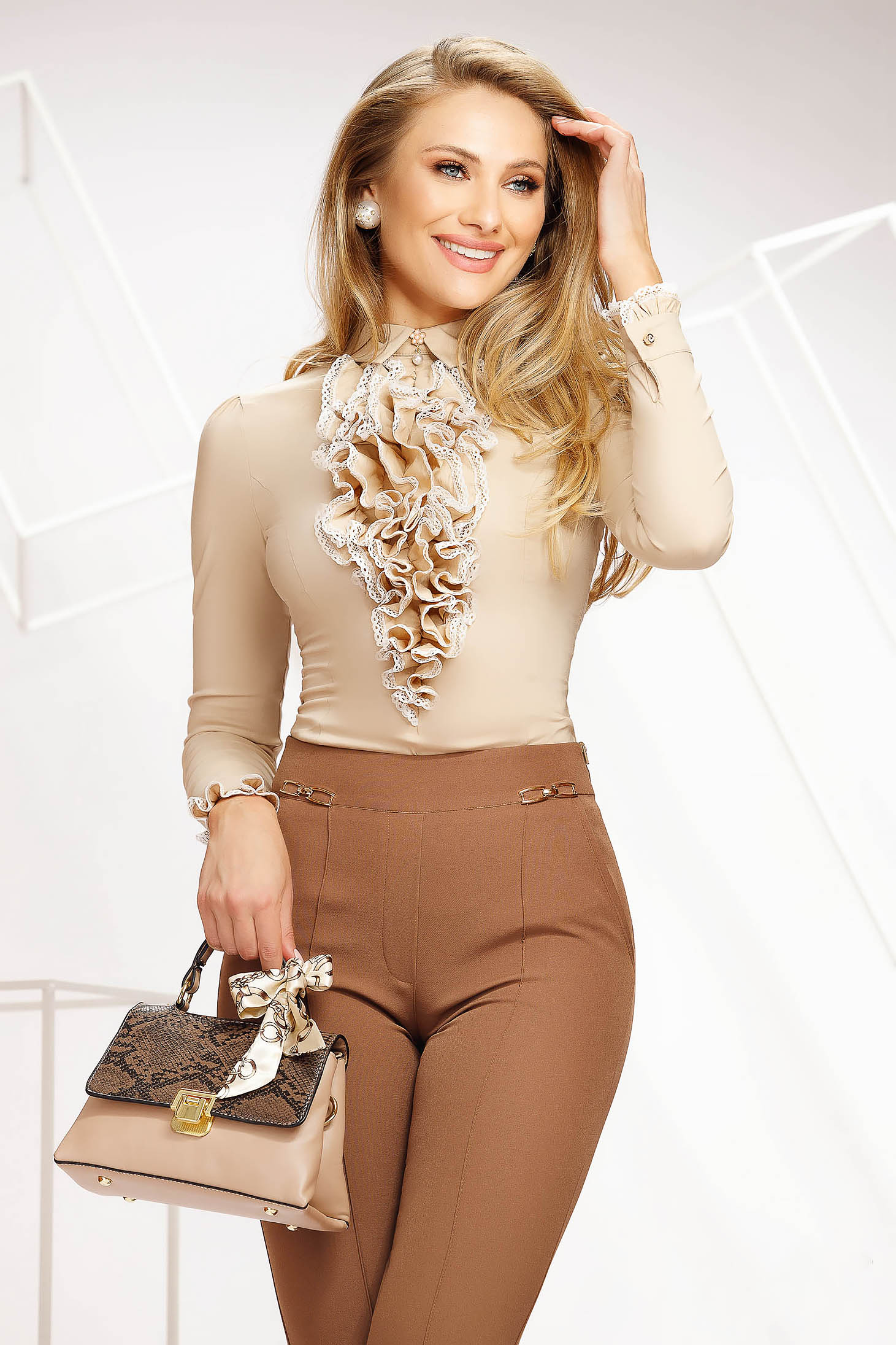 Cream women`s shirt office tented thin fabric with ruffle details accessorized with breastpin elastic cotton