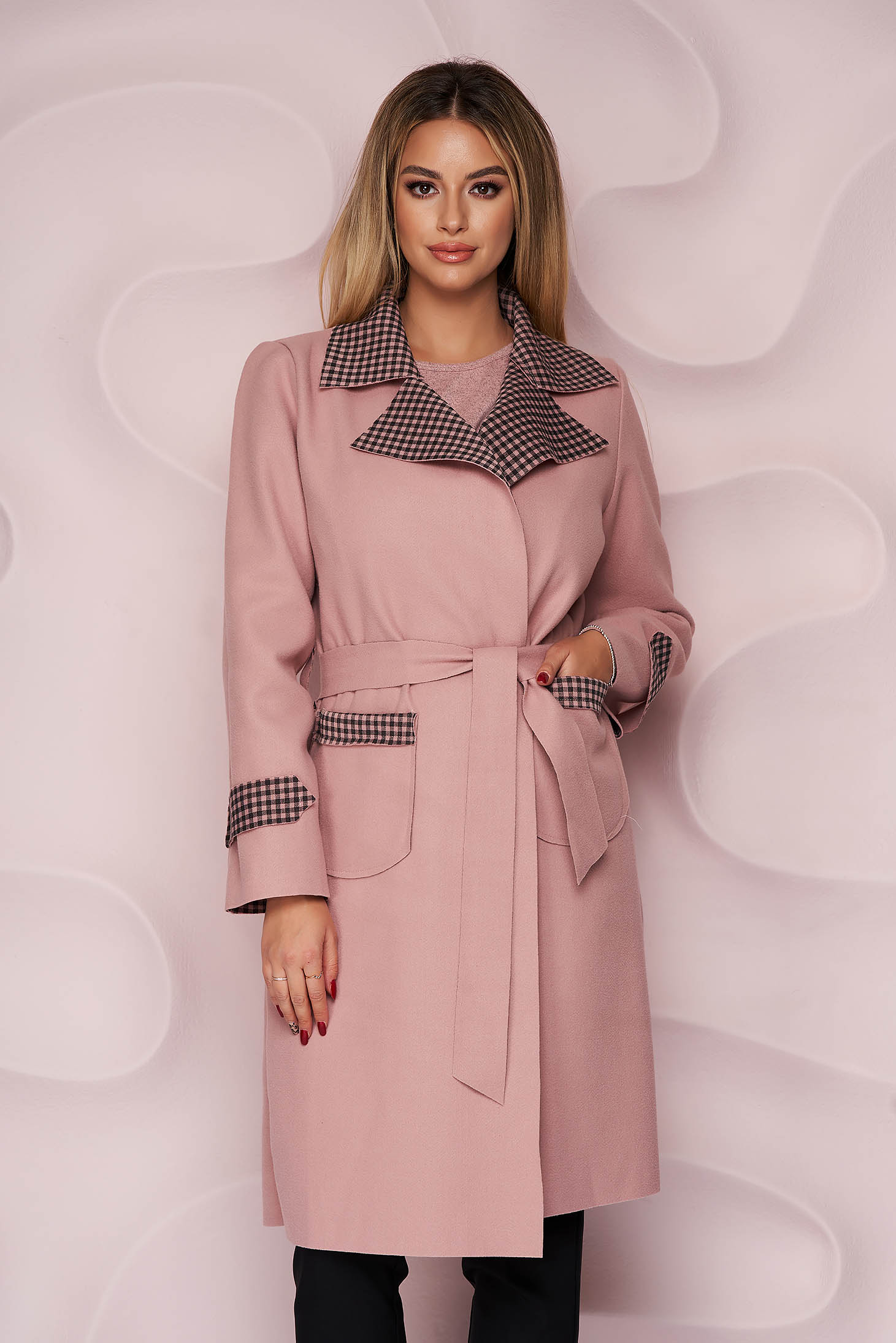 Lightpink trenchcoat long straight thick fabric slightly elastic fabric detachable cord with chequers