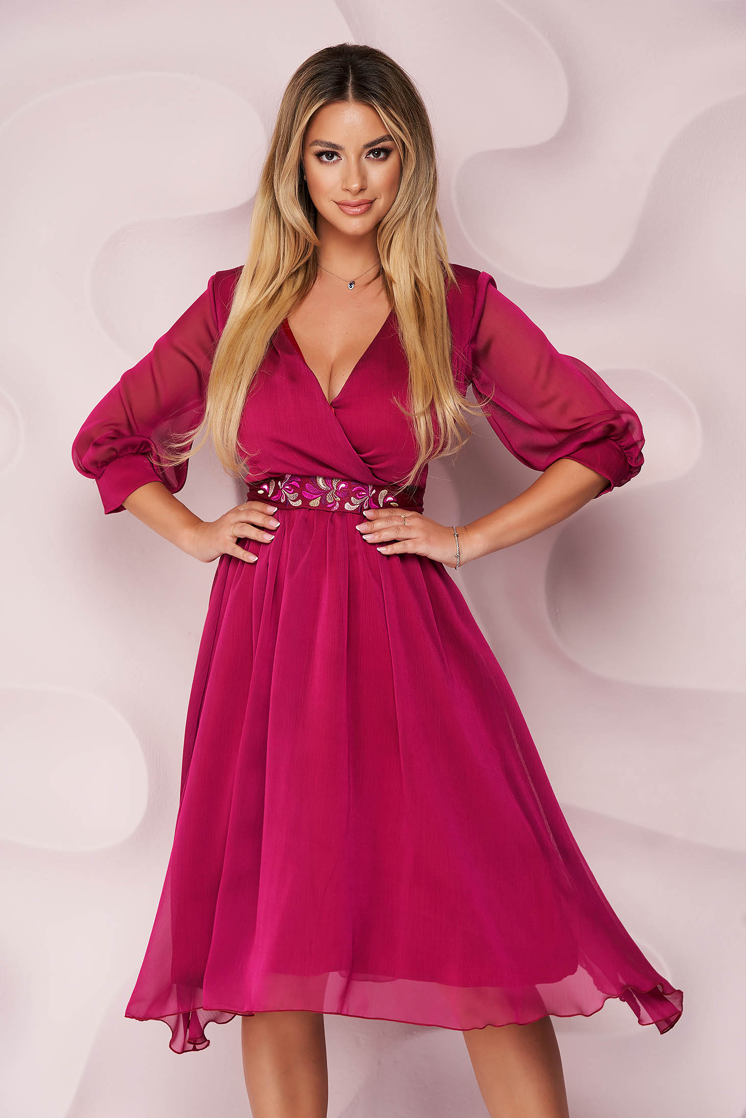 StarShinerS raspberry dress from veil fabric cloche midi occasional detachable cord embroidered wrinkled texture