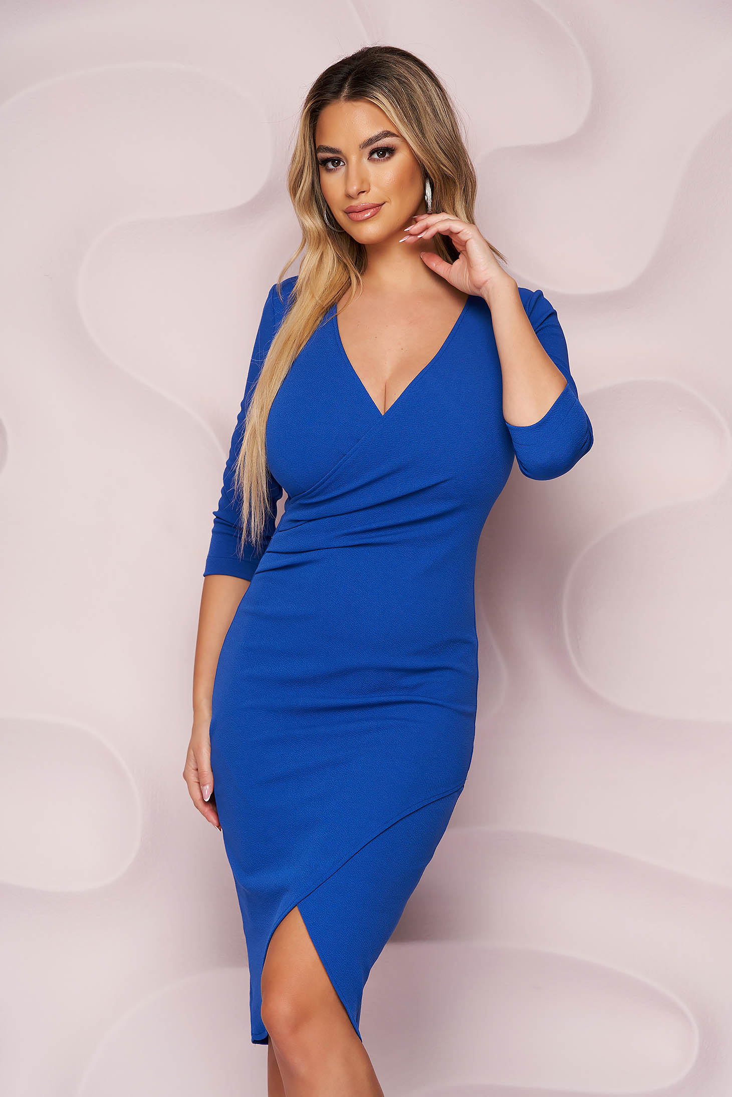 StarShinerS blue dress midi pencil with v-neckline from elastic fabric office
