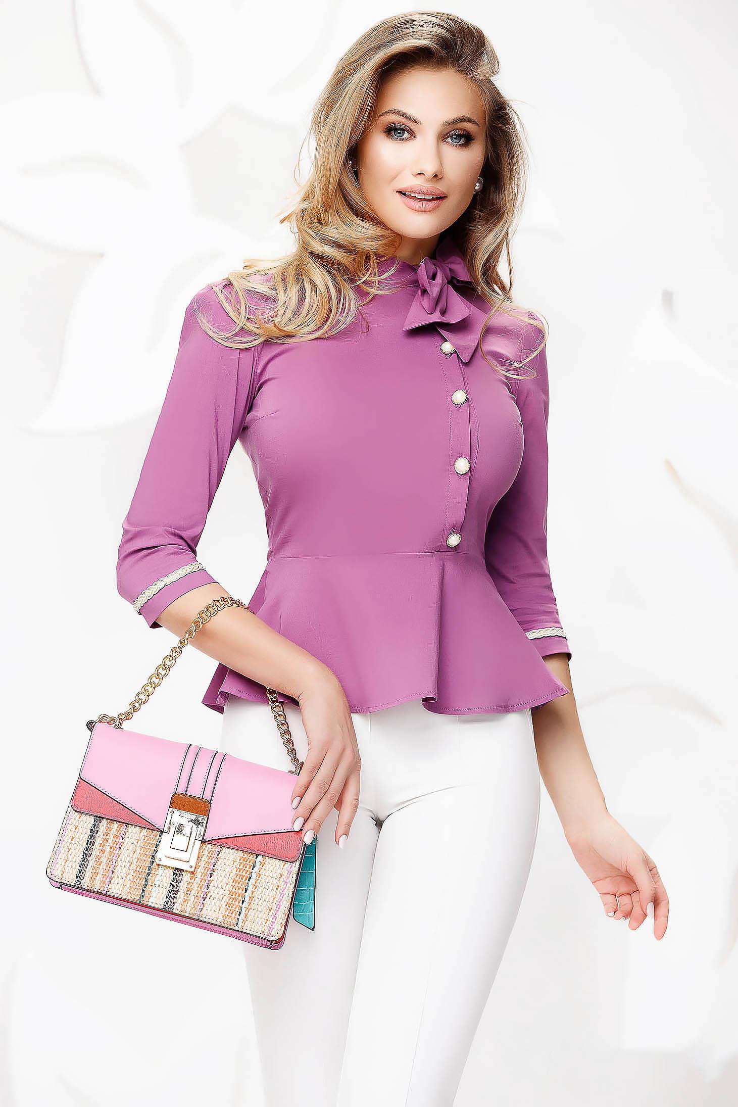 Szűkített sötétlila irodai női ing enyhén elasztikus pamutból masni díszítéssel