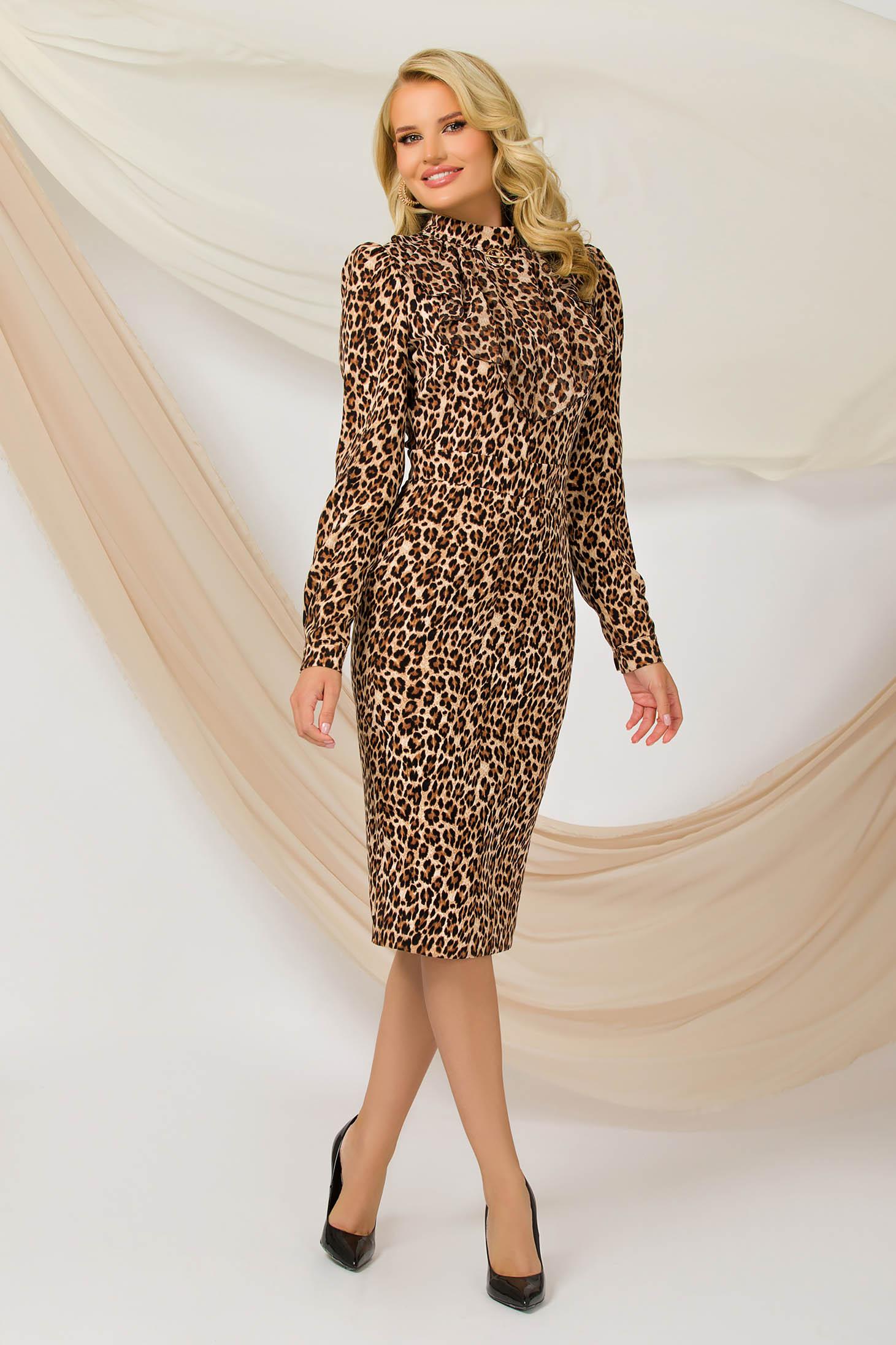 Dress office midi pencil nonelastic fabric animal print accessorized with breastpin
