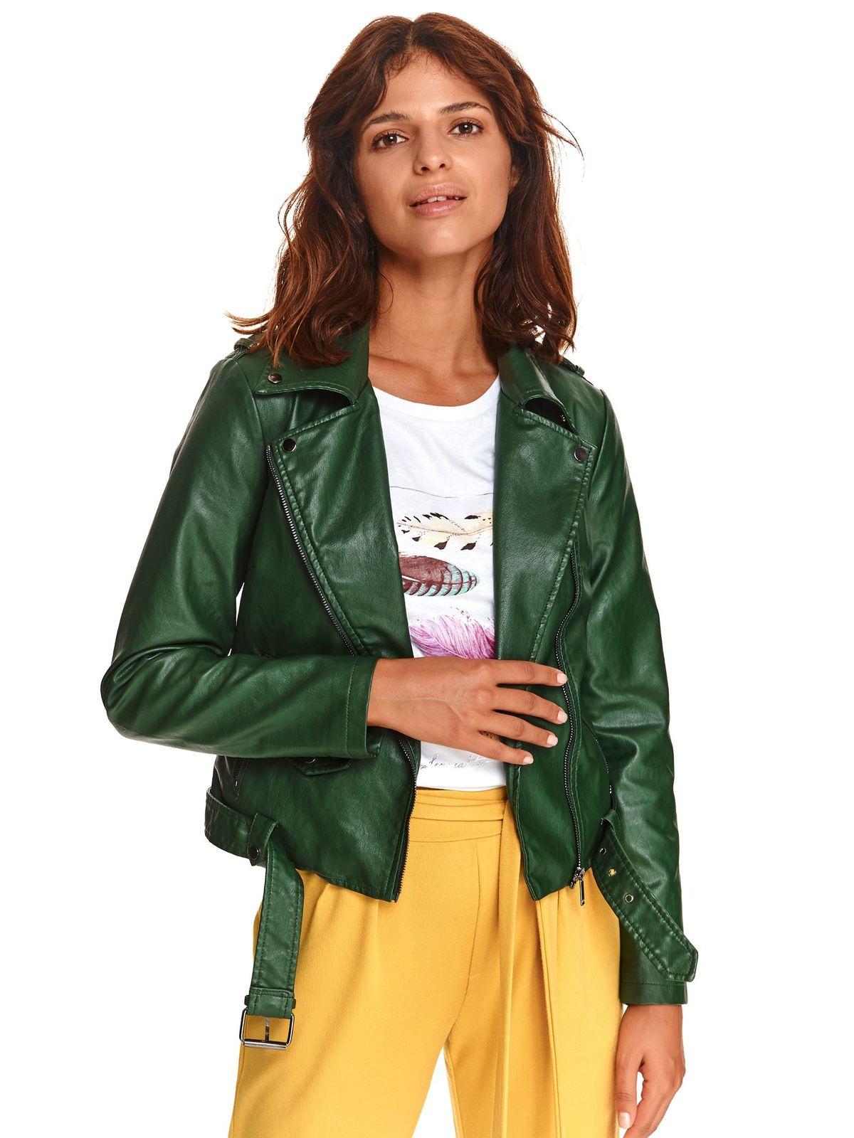 Geaca Top Secret verde scurta cambrata din piele ecologica elastica accesorizata cu cordon