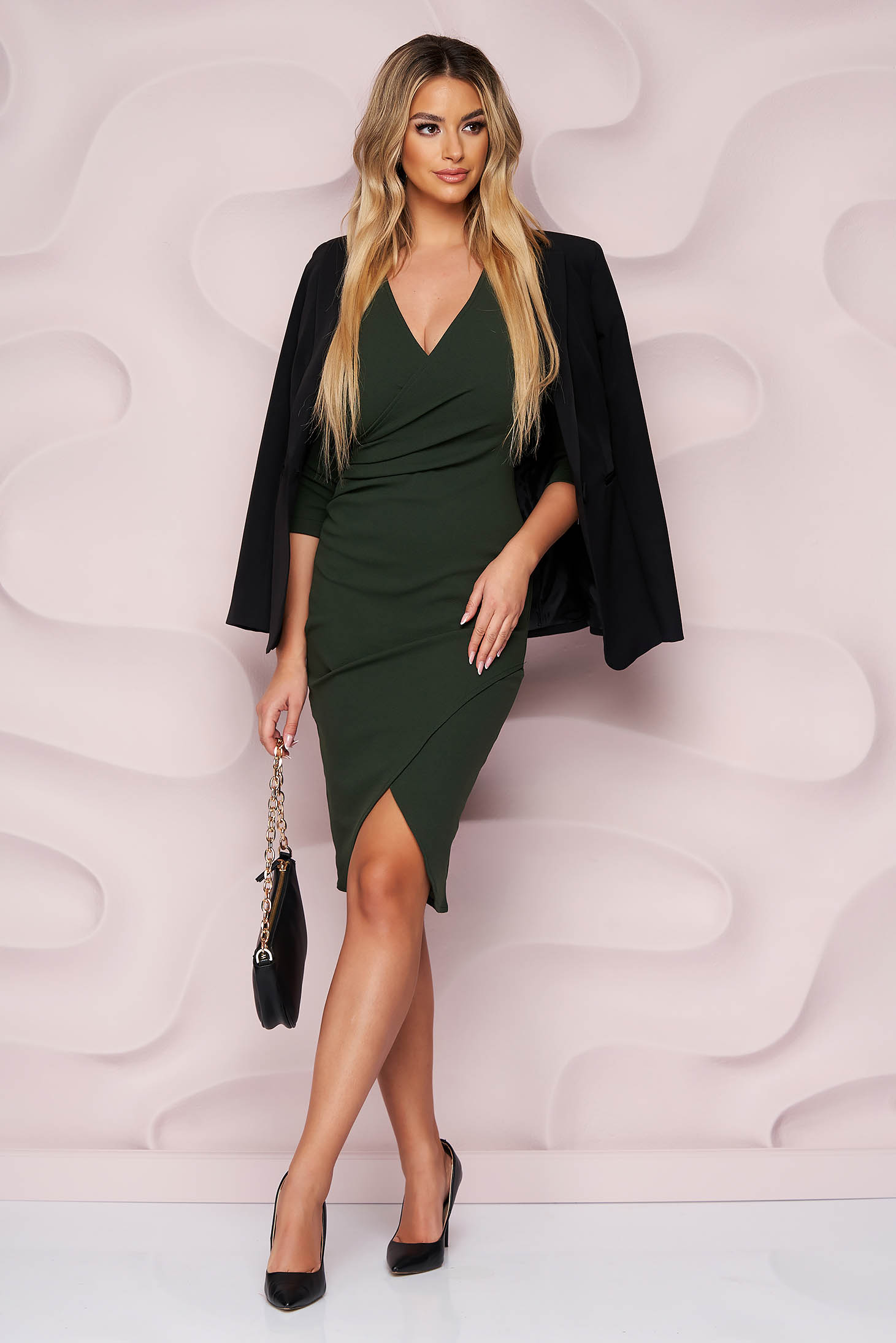 Rochie StarShinerS verde-inchis office midi tip creion din material elastic cu decolteu in v