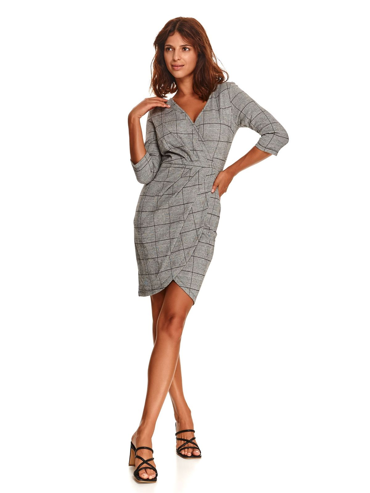 Grey dress short cut pencil from elastic fabric long sleeve with chequers