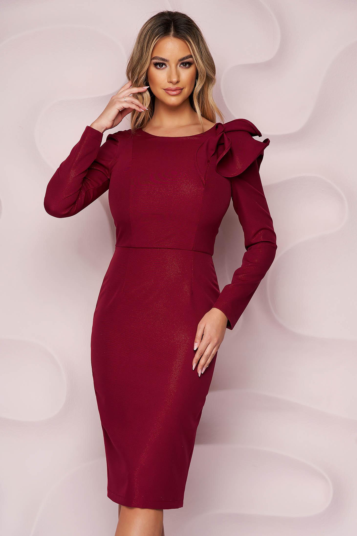 StarShinerS burgundy ruha enyhén rugalmas szövetből alkalmi ceruza fodros