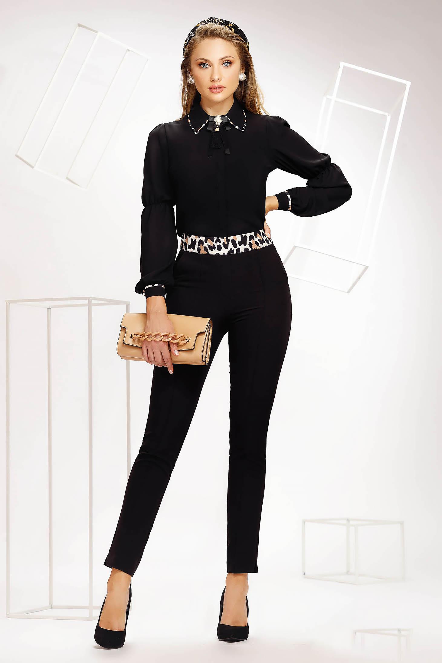 Pantaloni Fofy negri office conici din material neelastic cu buzunare laterale si talie normala