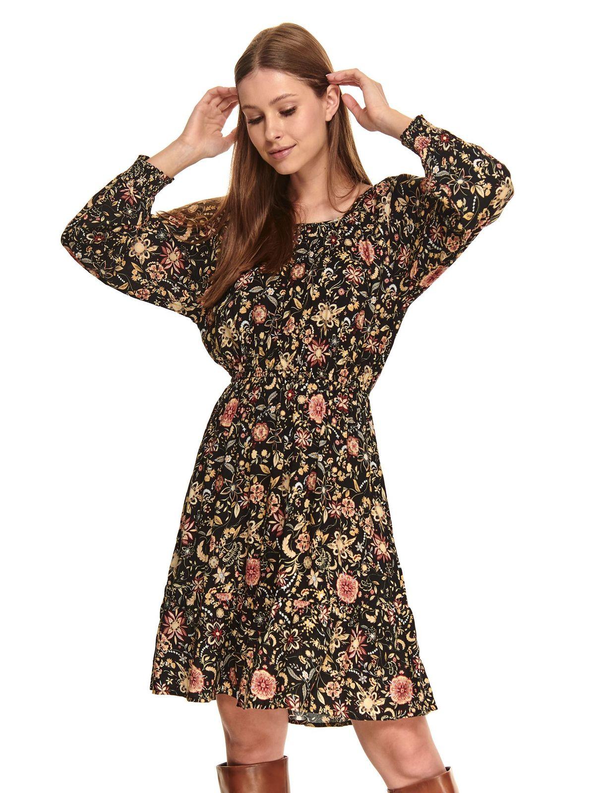 Rochie neagra Top Secret in clos cu elastic in talie din material subtire cu imprimeu floral si maneci prinse in elastic