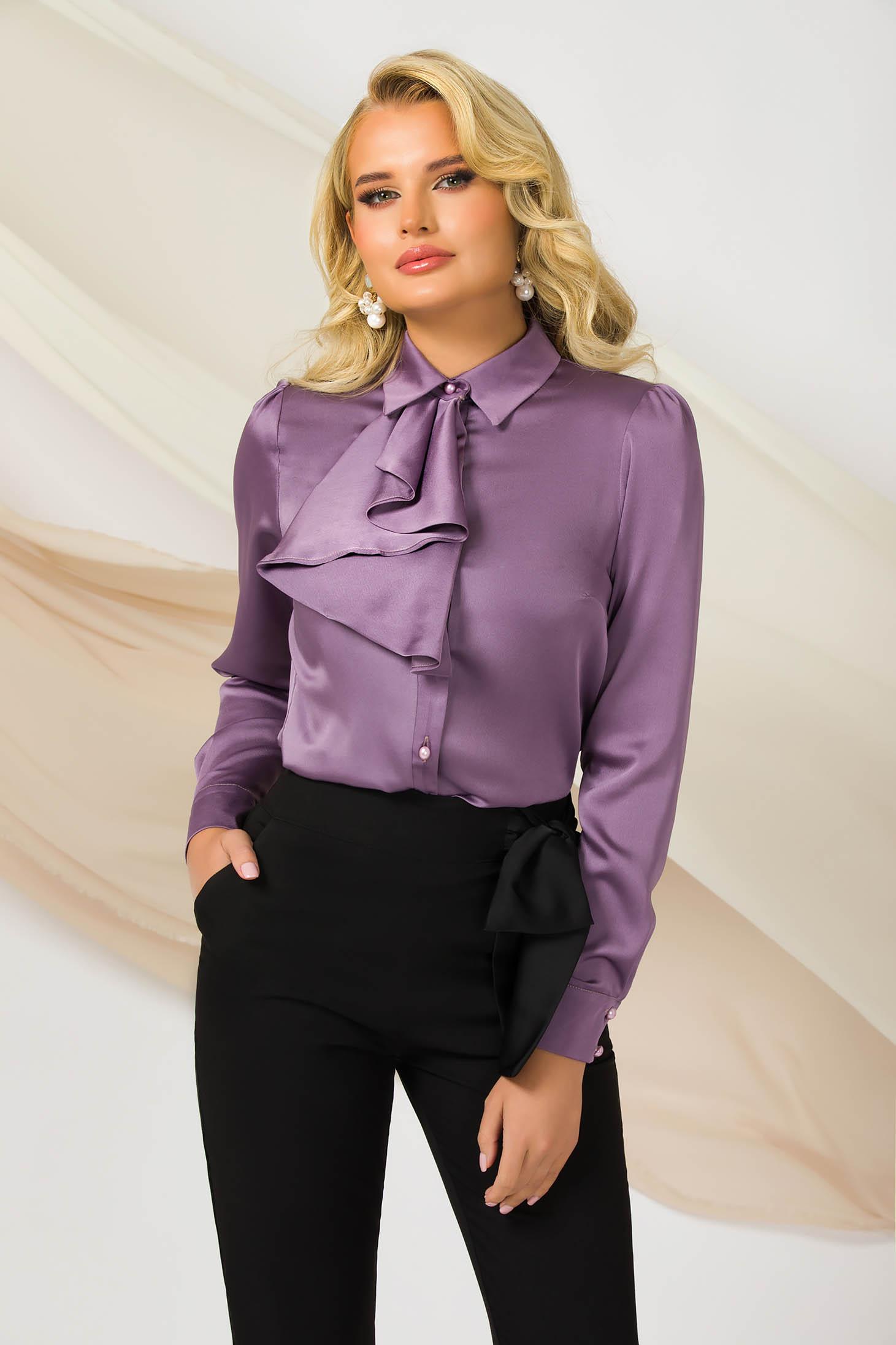 Camasa dama PrettyGirl mov office cu un croi drept din material satinat usor elastic cu maneci bufante si jabou
